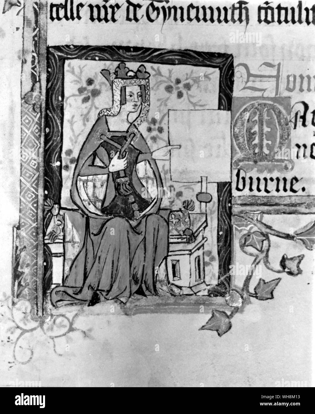 Queen Matilda of Scotland  depicted in the Golden Book of St Albans Stock Photo