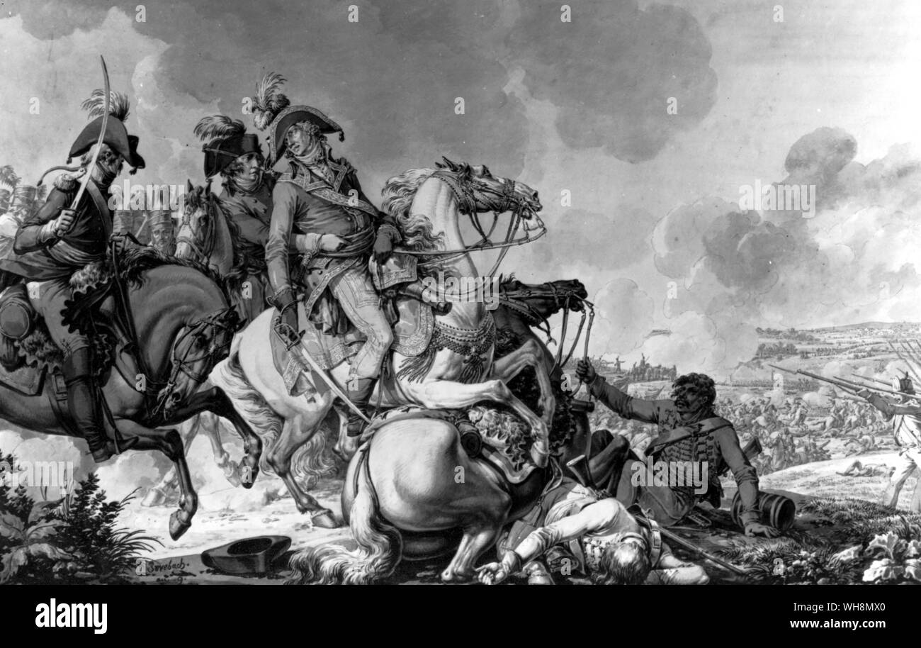 The death of General Desaix at the Battle of Marengo, 14 June 1800, while leading the counter-attack that saved Bonaparte from defeat. Wash painting by Jacques Francois Fontaine called Swebach. Copyright Reserved. Stock Photo
