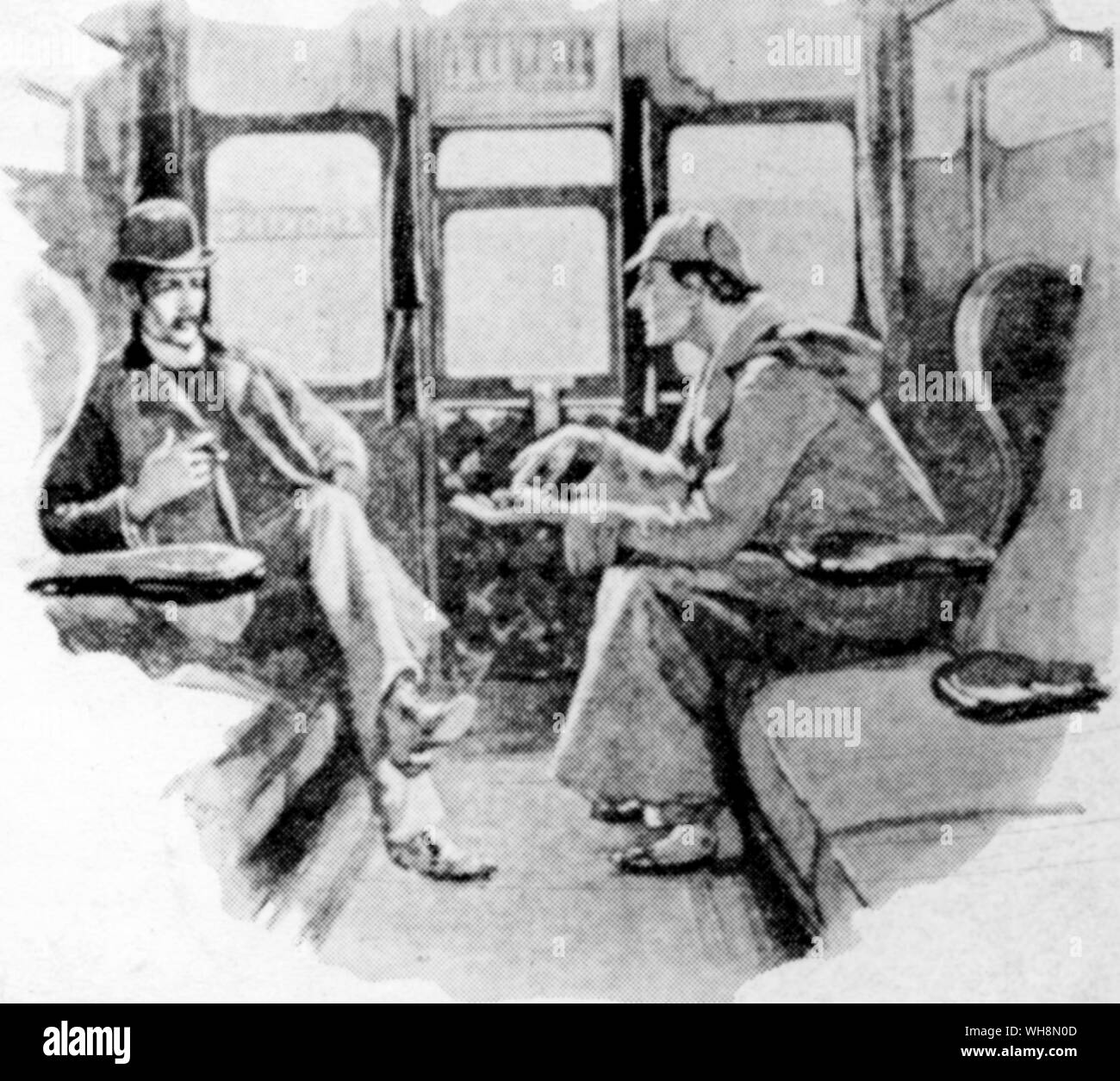 Crime Fiction Sherlock Holmes and Dr Watson an illustration by Sidney Paget from The Strand Magazine in which the stories first appeared Stock Photo