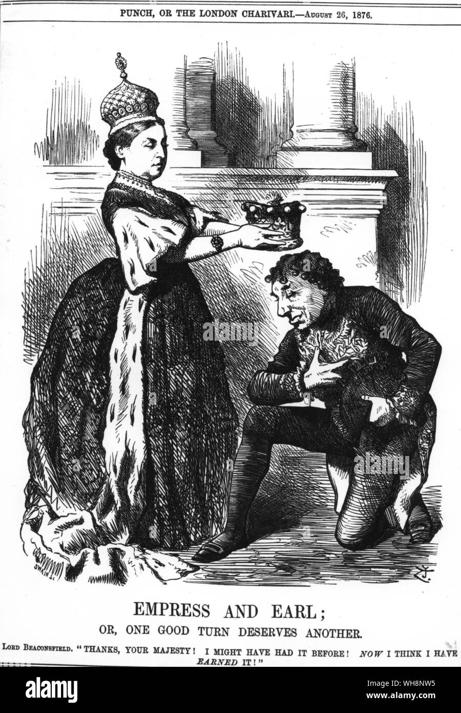 Queen Victoria created Disraeli Earl of Beaconfield in August 1876 in return for his successful engineering through Parliament of the Royal Titles Bill making the Queen Empress of India '. Empress and Earl. Or, one good turn deserves another' from Punch 26 August 1876 page 83 Stock Photo