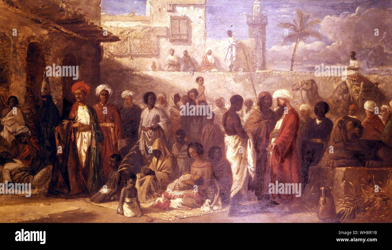 Detail from the slave market at Cairo.  Painting by William James Muller Stock Photo
