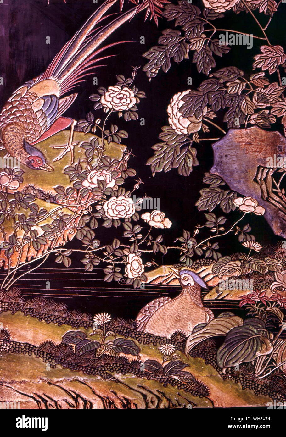 Detail from a carved and painted lacquer screen, Ch'ing dynasty (1644-1912) Stock Photo