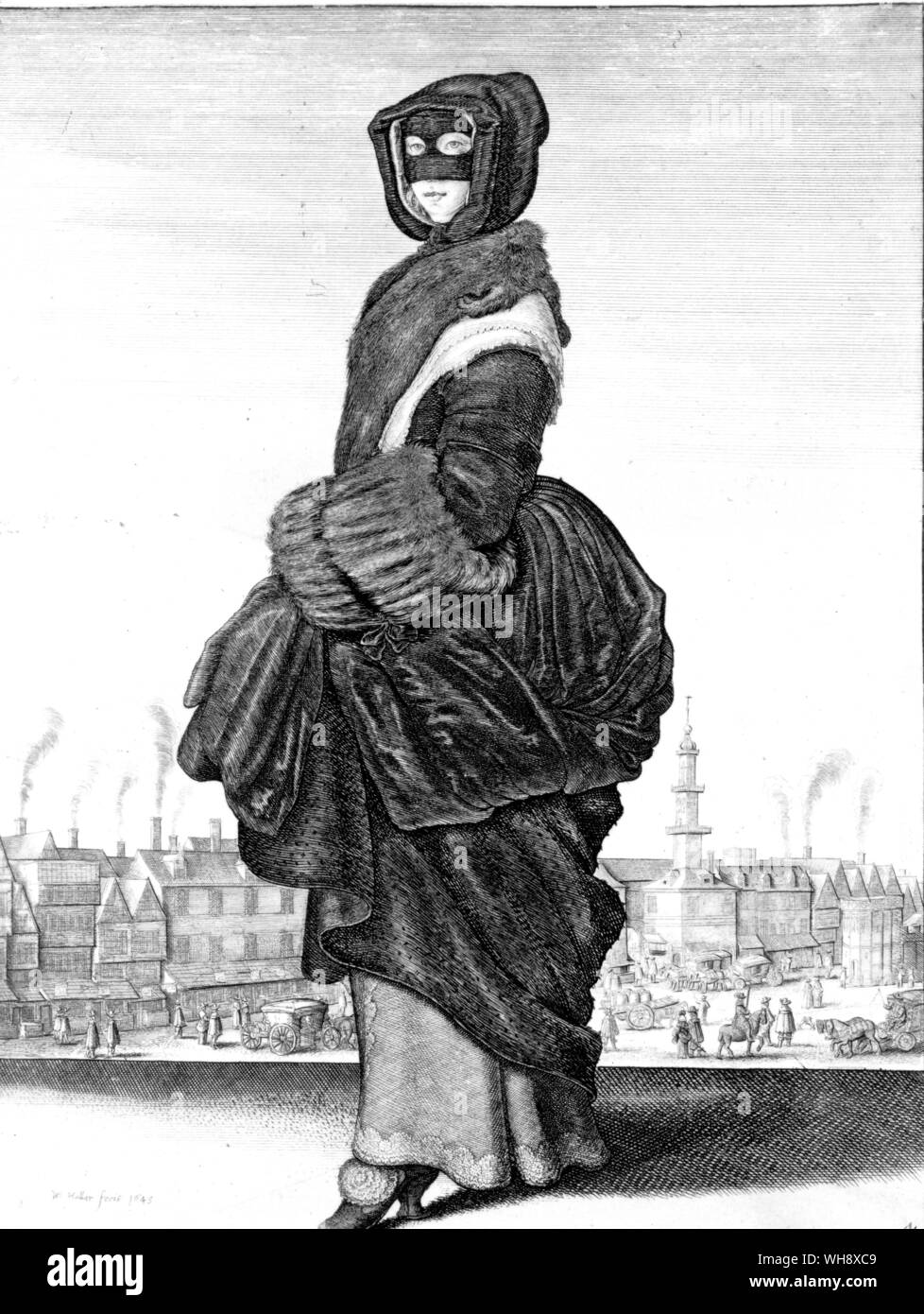 Winter fashion during the first civil war from the Seasons a etching by Wenceslaus Hollar 1643 Stock Photo