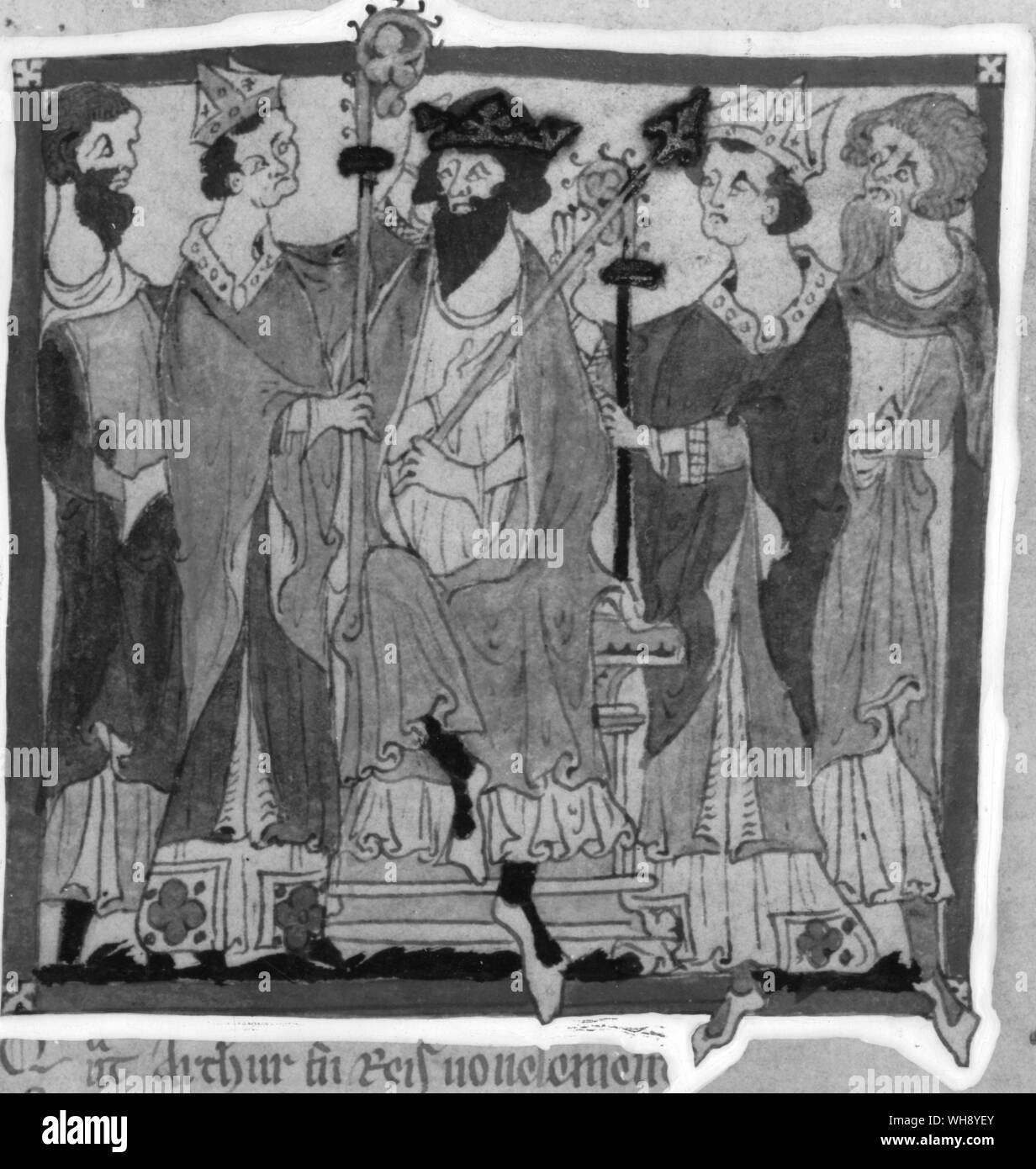 From Thirteenth Century Chronicle of Wace: King Arthur Crowned Stock Photo