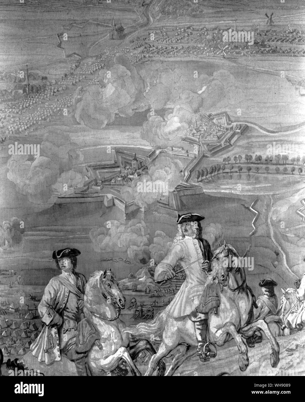 ... as hazardous and delicate an operation as the Duke had ever taken.' The siege of Bouchain. detail from a tapestry woven by De Vos after L. de Hondt Stock Photo