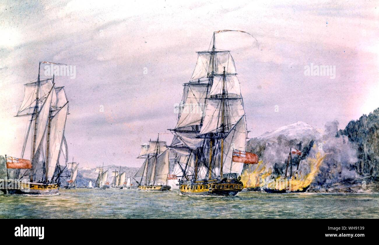 The Albemarle by Robertson. She was a 28 gun frigate captured from the French and one of the first ships Nelson commanded as captain. He took her to America and joined Hood at New York in the 1781-3 war Stock Photo