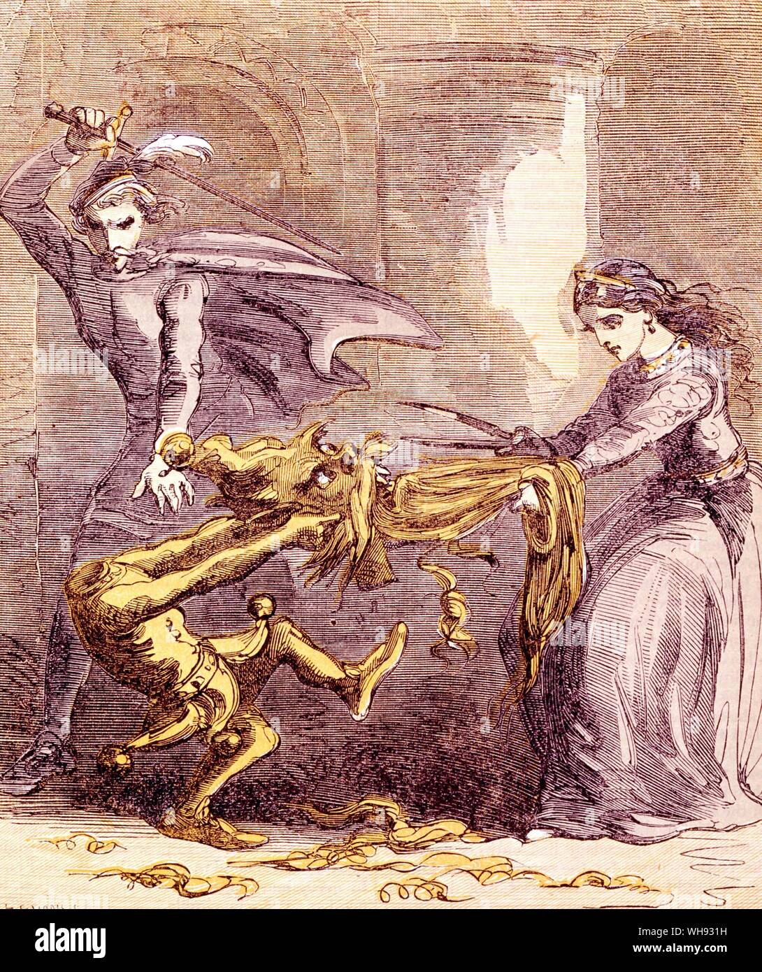 The Yellow Dwarf comes to grief when the princess attacks his beard with magic scissors. Colour wood-engraving by Edmund Evans, after the design by 'Phiz' from Grimm's Goblins, 1861.. Stock Photo