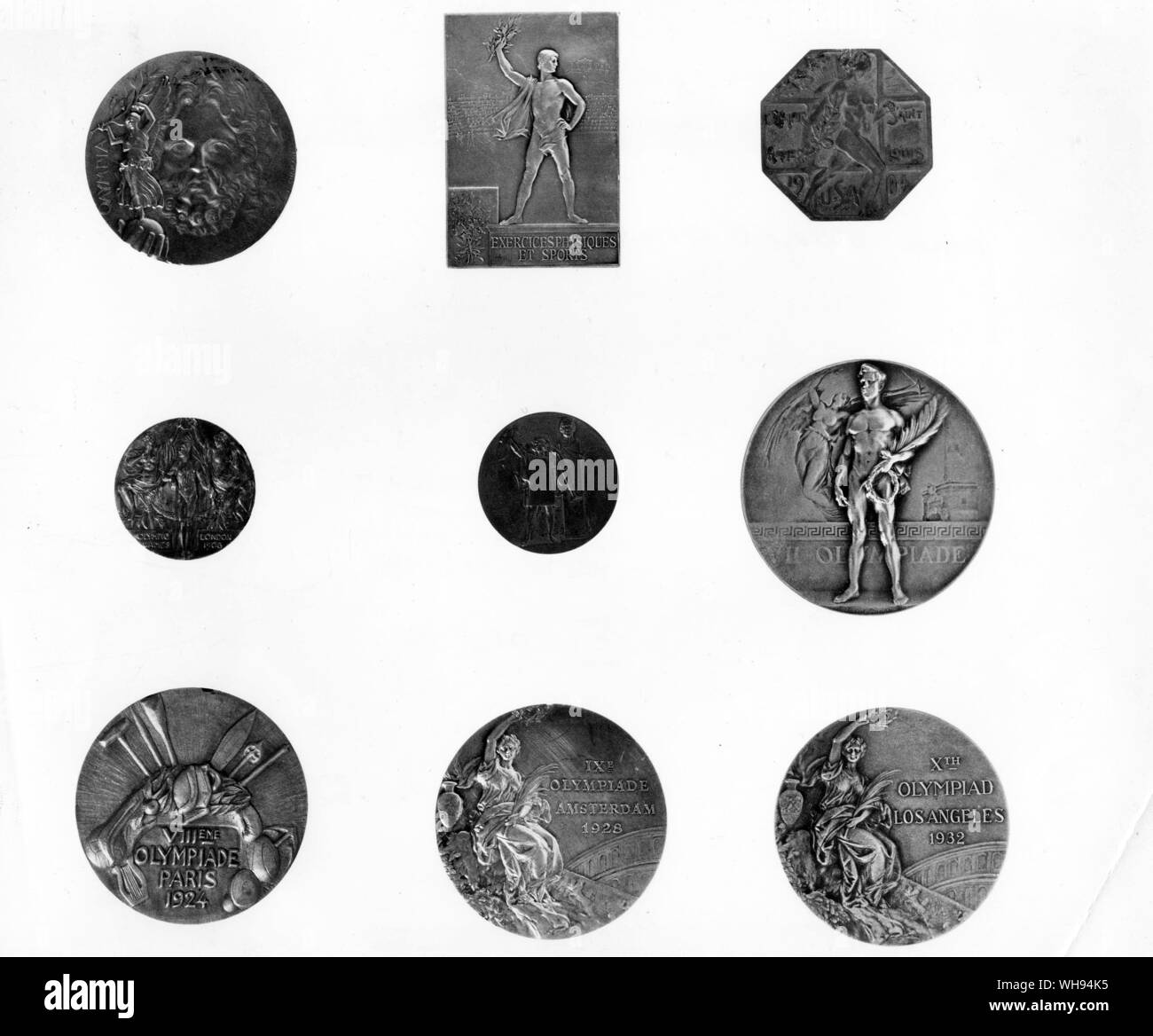 Official Olympic Medals 1896-1932: (l-r top): Greece Athens, 1896. France, Paris 1900. USA, St Louis, 1904. (l-r middle) Great Britain, London, 1908. Stock Photo