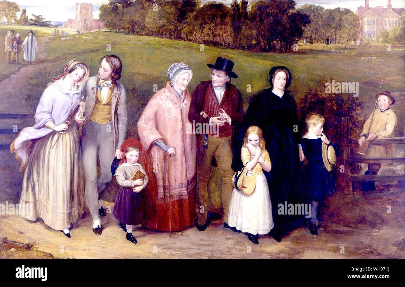 Sunday Morning The walk from church 1846 Stock Photo