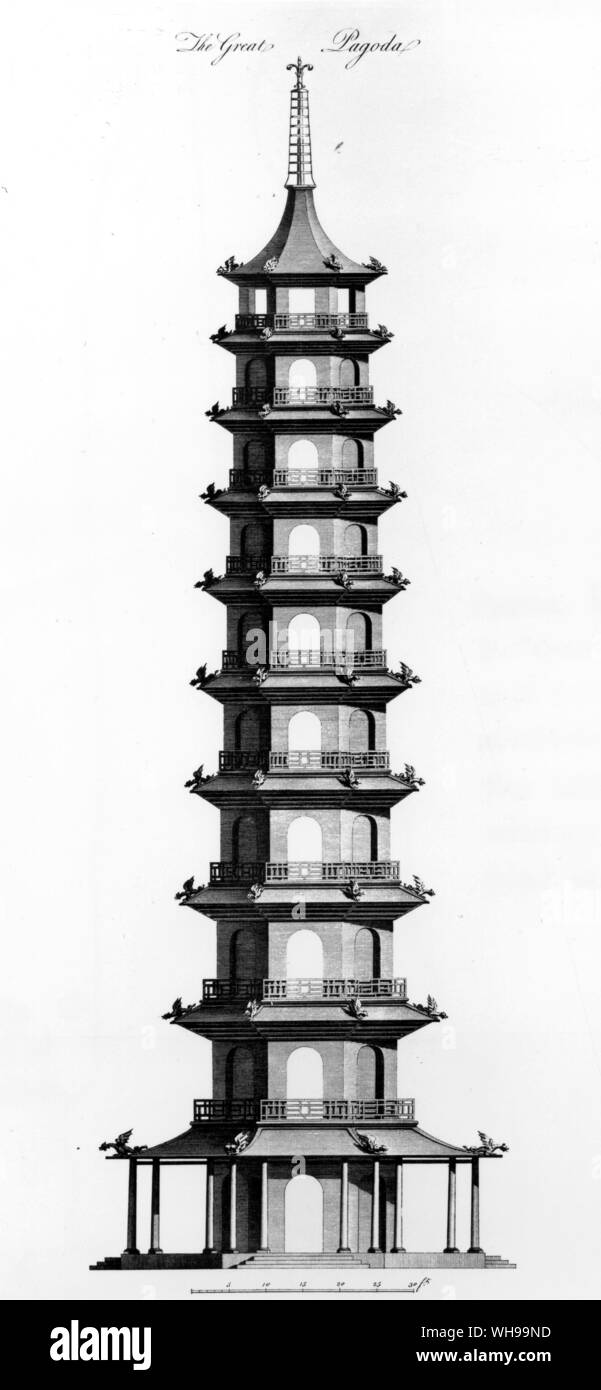 The Great Pagoda at Kew. From Sir William Chambers's Gardens and Buildings at Kew, 1763. Stock Photo