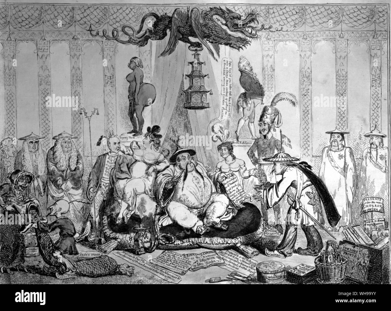Political satire: the Prince Regent's passion for chinoiserie was cruelly lampooned by such cartoonists as Cruikshank. Stock Photo