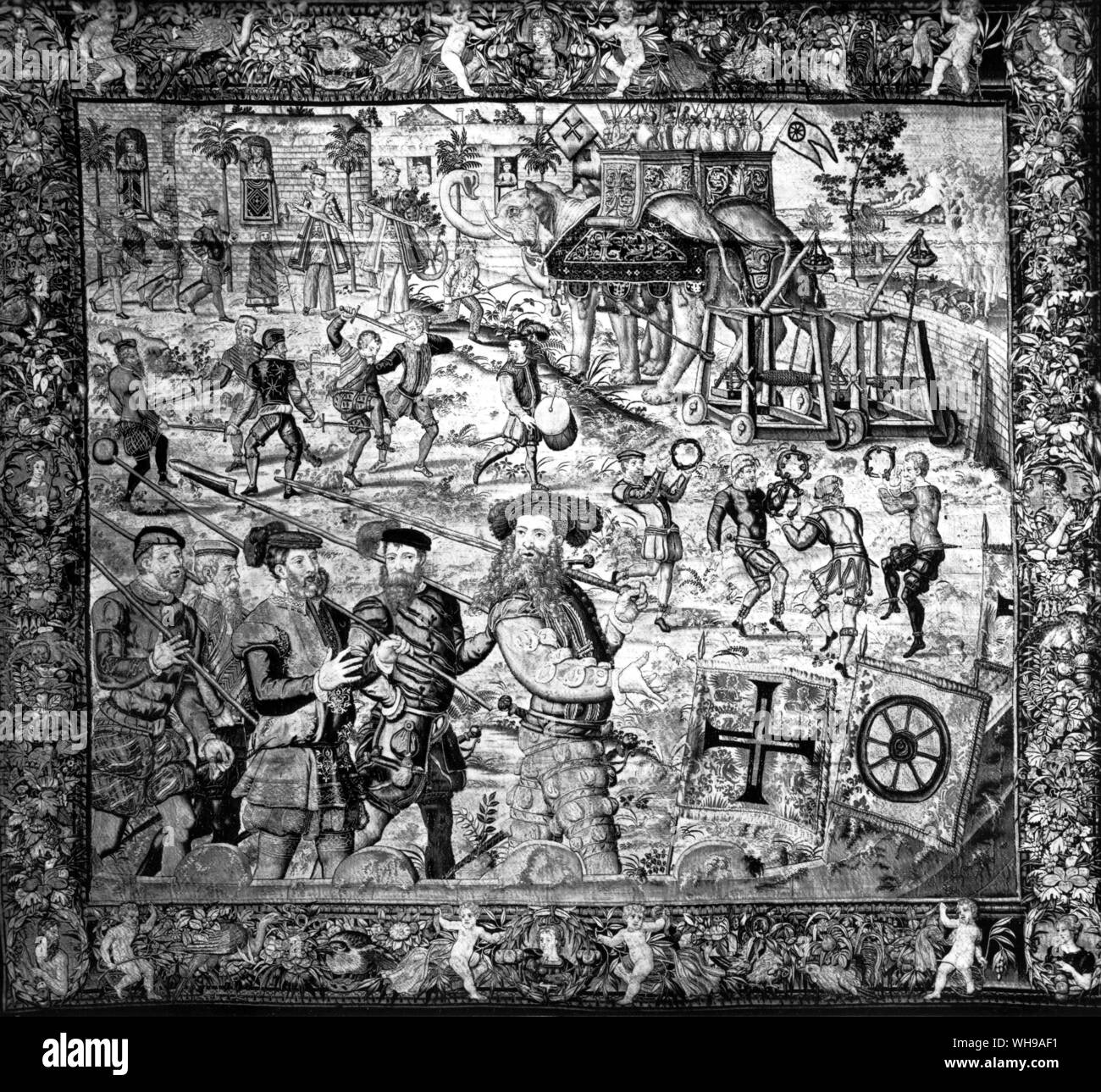 A 16th centur Brussels tapestry from a series showing the deeds of Jaoa de Castro, governor of Goa in 1547.  See also illus. 26 and 60 Stock Photo