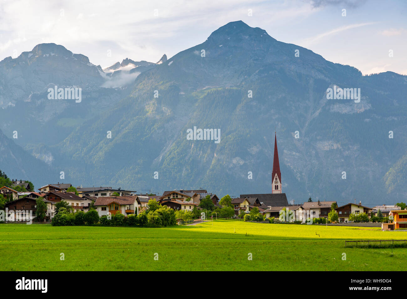 View of village Church in the Tuxertal valley, Mayrhofen, Zillertal Valley, Tyrol, Austria, Europe Stock Photo