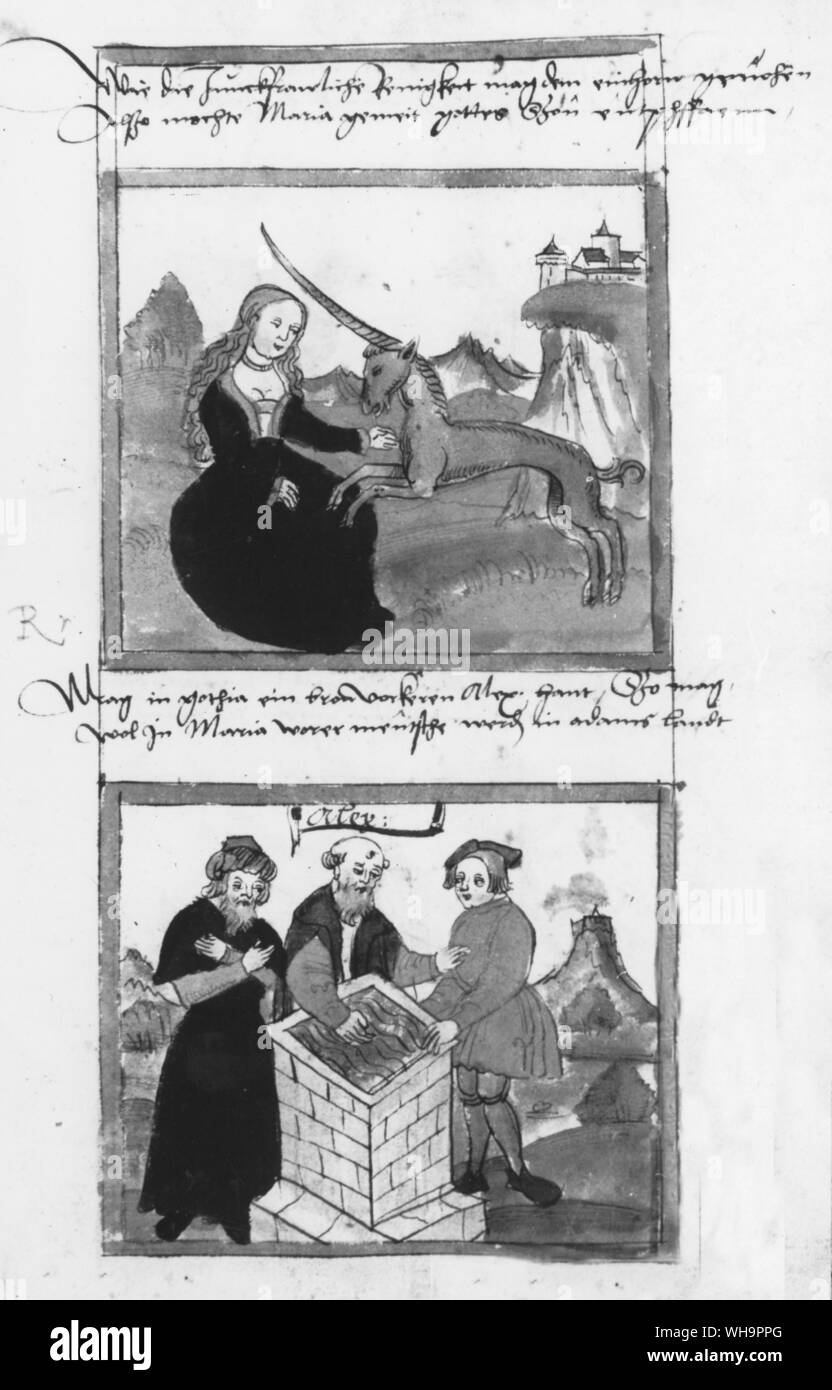 Tarot cards - the legendary unicorn, tamed by a virgin, from a medieval MS.. Stock Photo