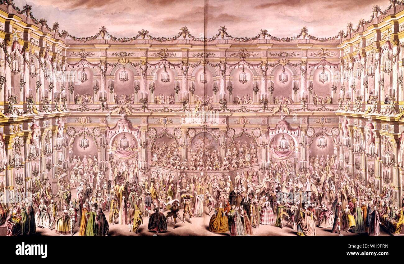 Detail from a perspective view of the ballroom constructed in the courtyard of the Hotel de Ville in Paris on the occasion of the Duphin's first marriage to Marie-Therese, Infanta of Spain, by Charles-Nicolas Cochin Stock Photo
