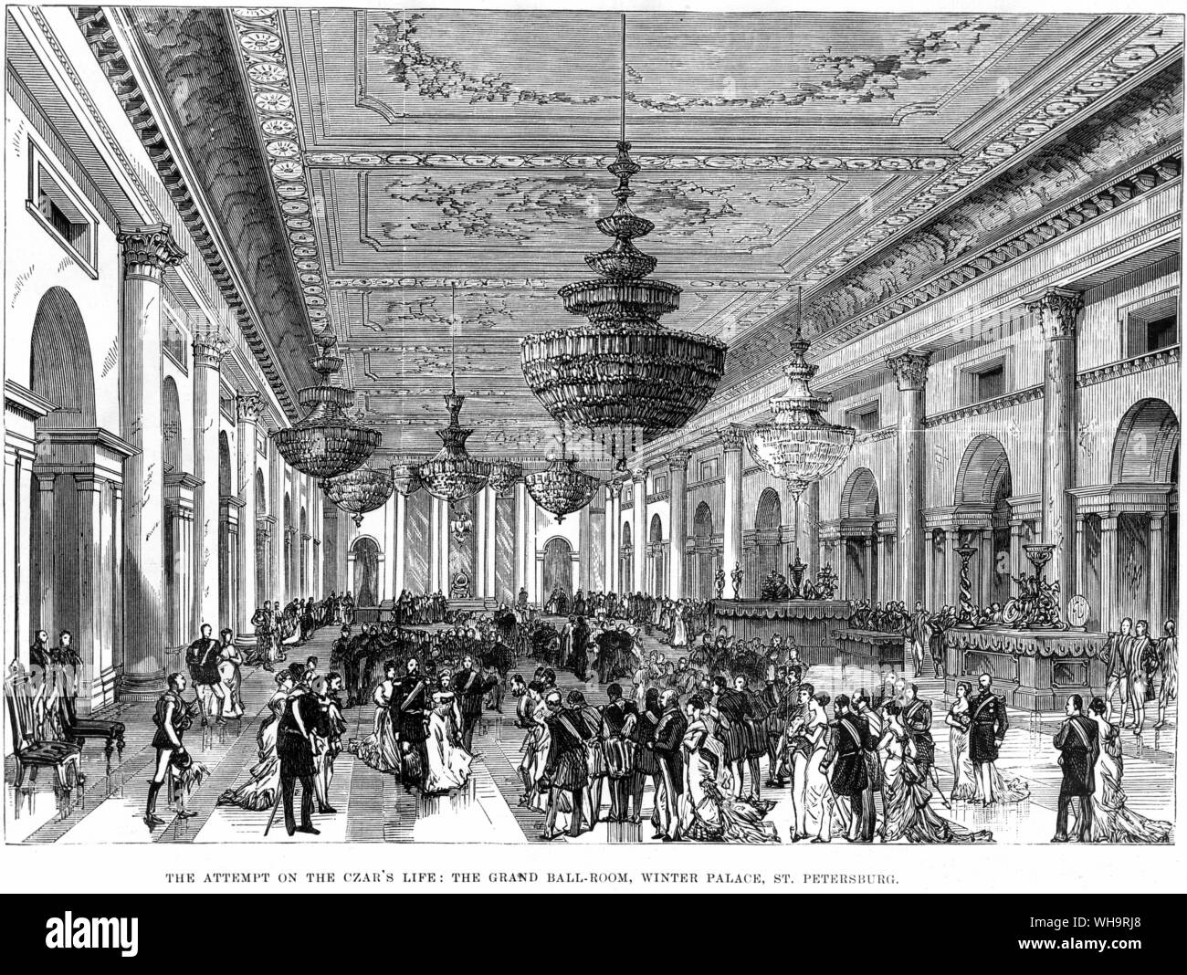 The attempt on the Tsar's life. The Grand ballroom, Winter Palace, St. Petersburg. February 1880. ILN 28.2.1880 Stock Photo