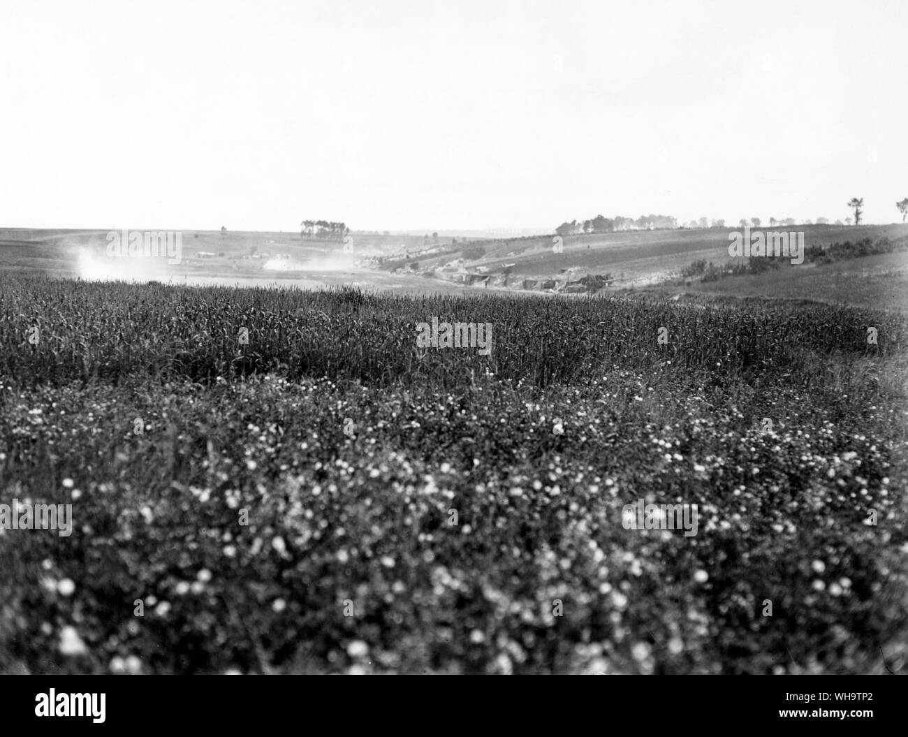 France,  WW1: Allied gun positions in a valley, July 1916. Stock Photo