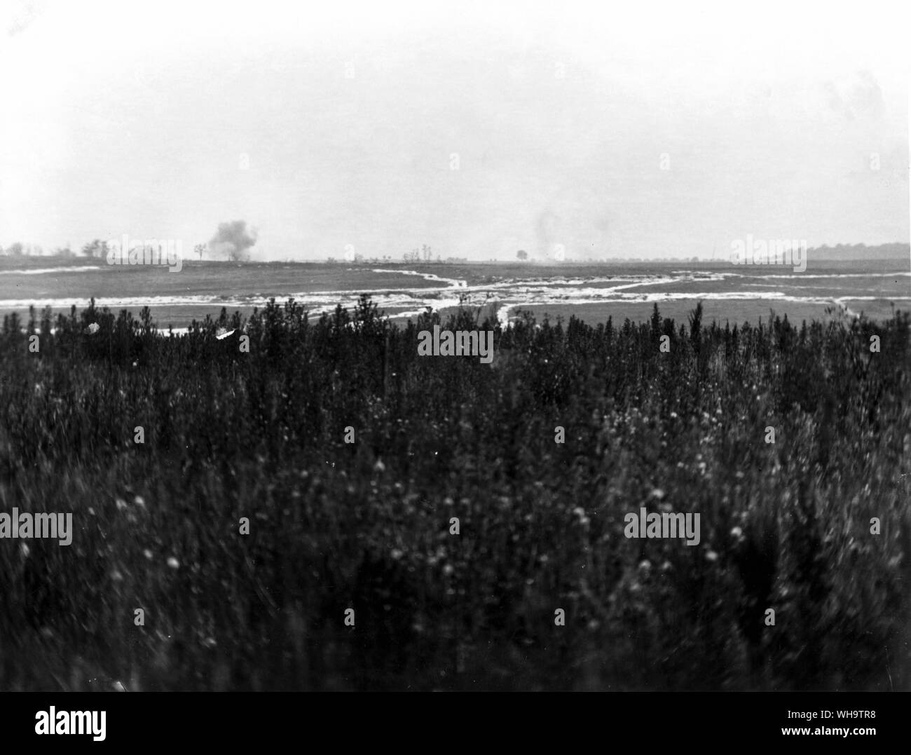 WW1/France: Panoramic view of the Somme battlefield, July 1916. Stock Photo