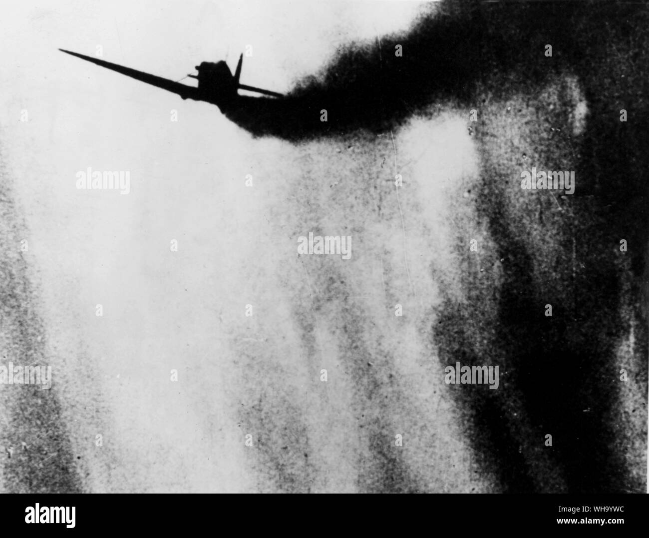 WW2: Battle of Britain. A spiralling Spitfire. British warplane. Stock Photo