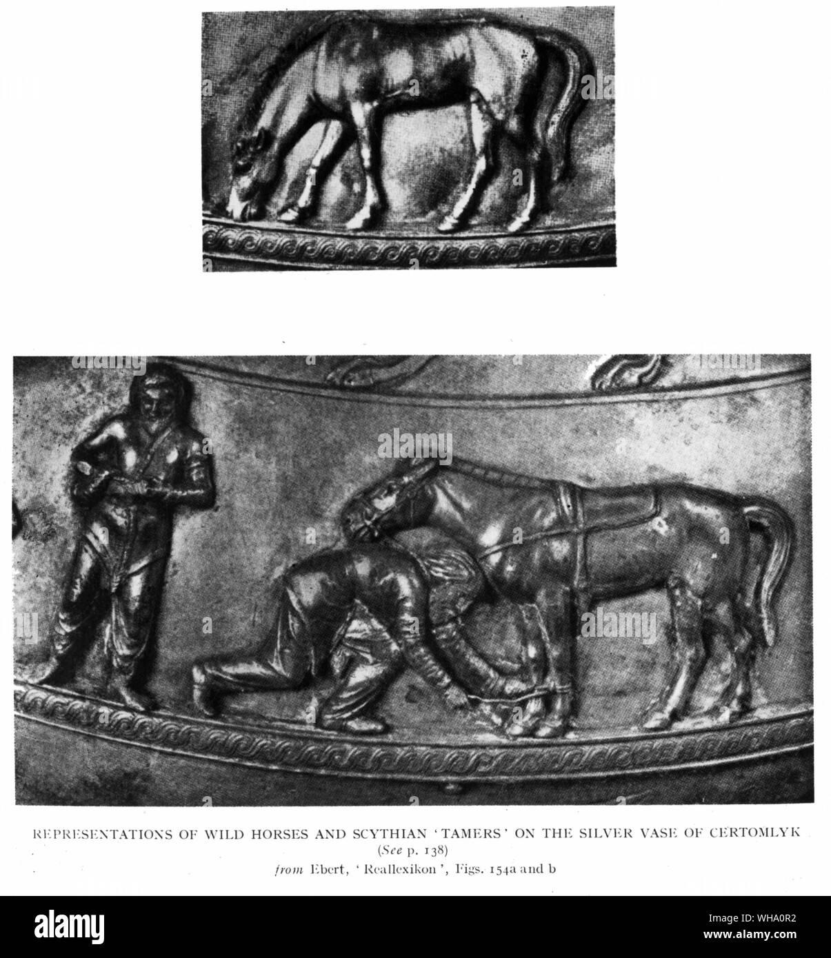 Scythian horse-tamers and wild horses from Certomlyk, Ukraine, 4th Century BC. Stock Photo