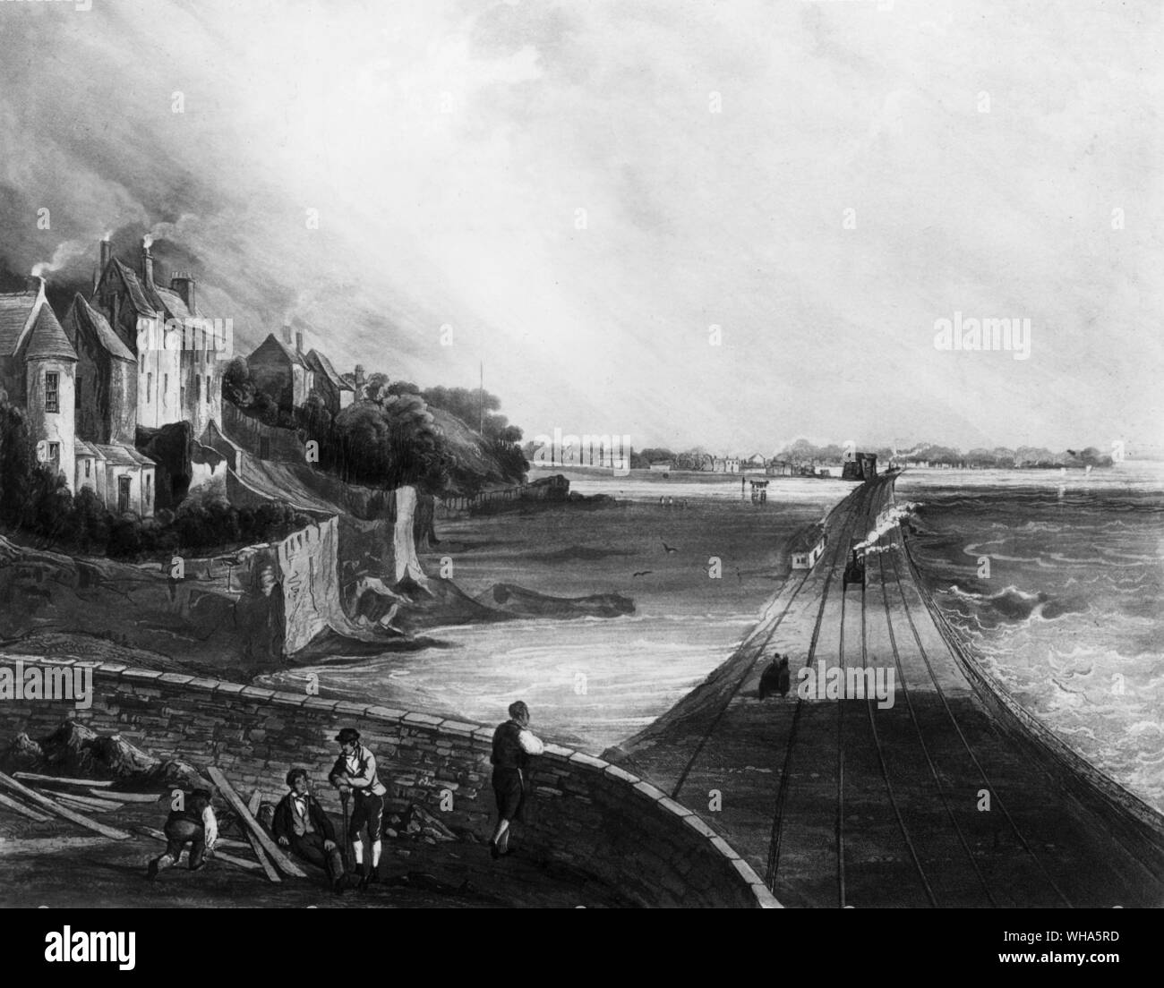 Dublin and Kingstown Railway opened 17th December 1834. View from Blackrock 1834 looking across Dublin Bay Stock Photo