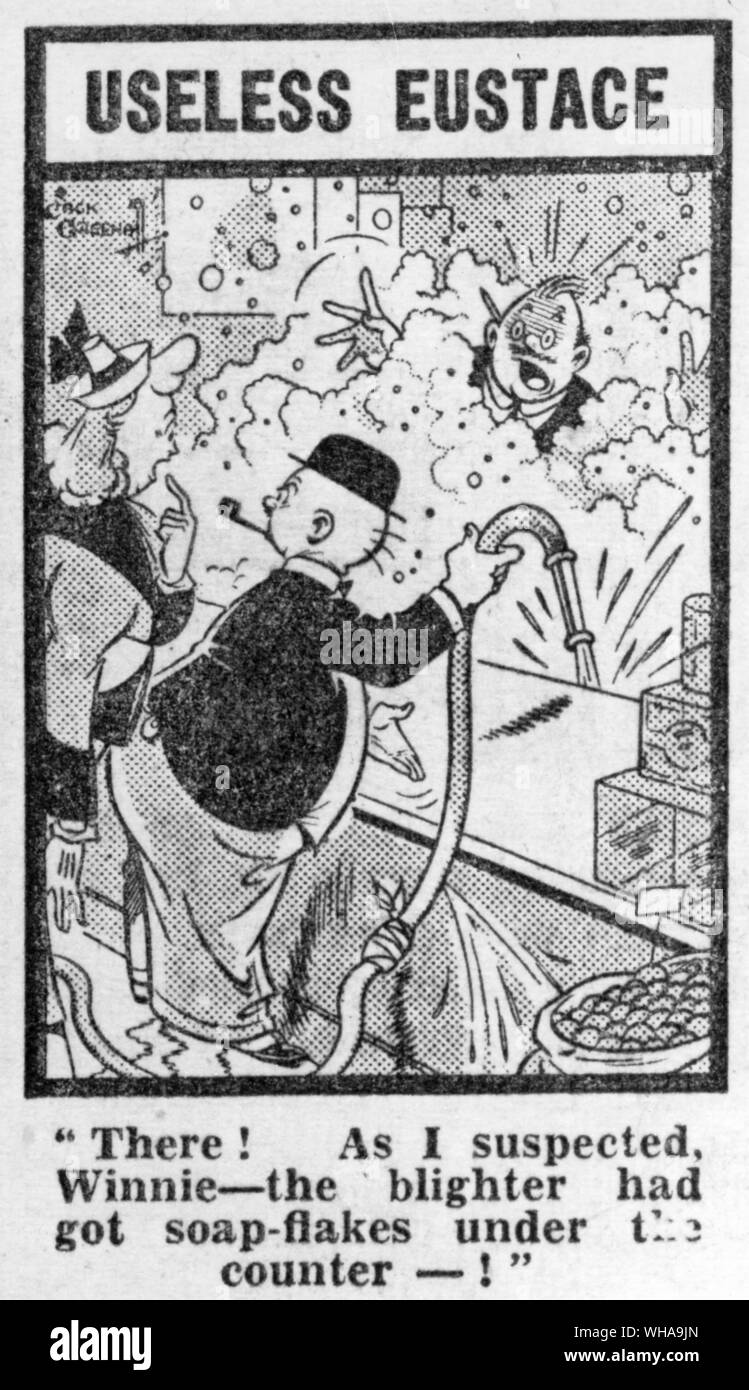 Useless Eustace. There! As I suspected, Winnie, the blighter had got soap flakes under the counter! Stock Photo