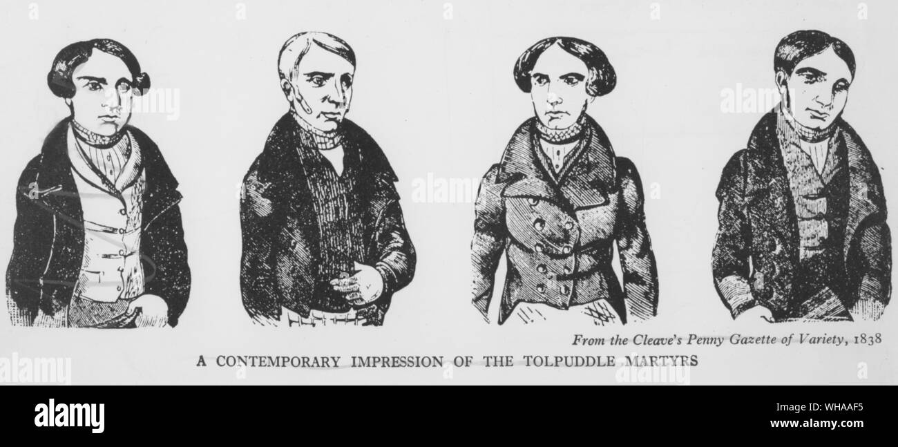 A contemporary impression of the Tolpuddle Martyrs. From the Cleave's Penny Gazette of Variety 1838 Stock Photo