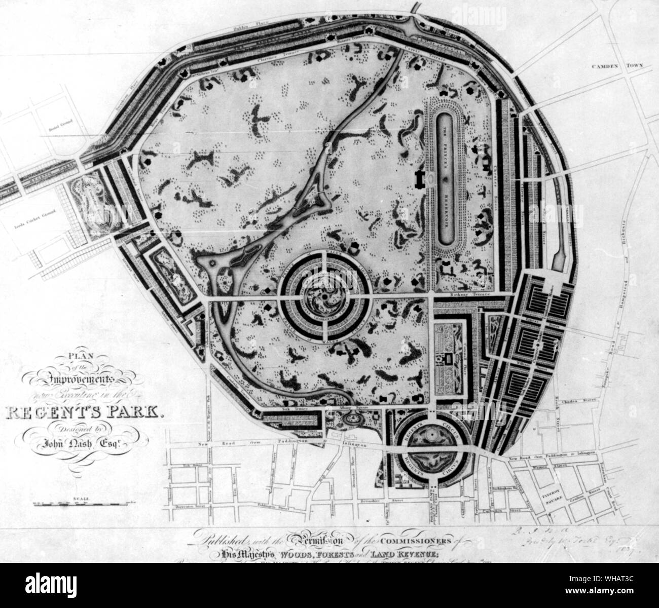 Plan of the Improvements of Regents Park . London. Stock Photo