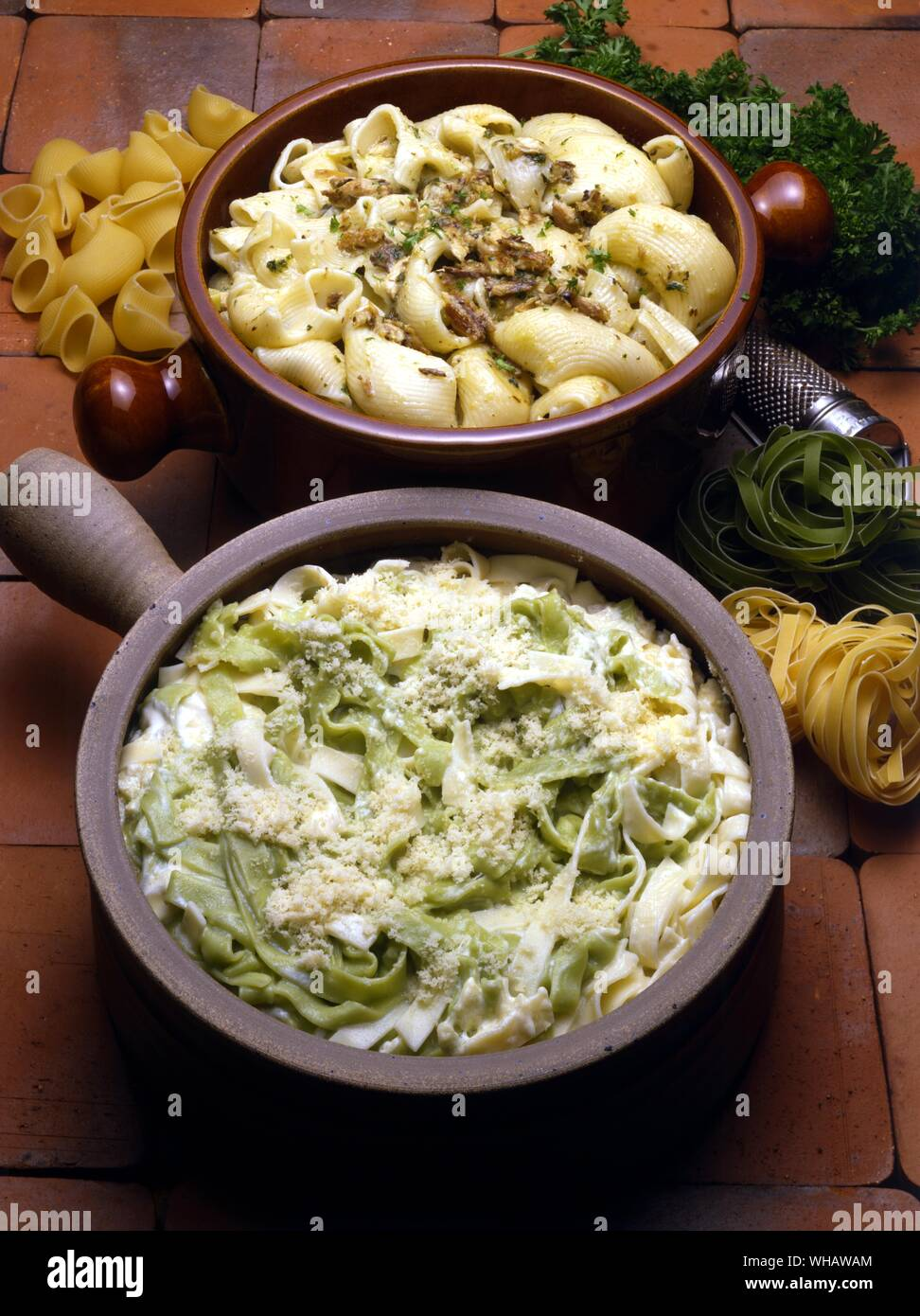 Italian Cooking By Robin Howe. . Top.. Maccheroni Con Salsa Di Sarde.. Macaroni With A Sardine And Garlic Sauce.. . Bottom.. Paglia E Fieno.. 'Straw And hay' Stock Photo