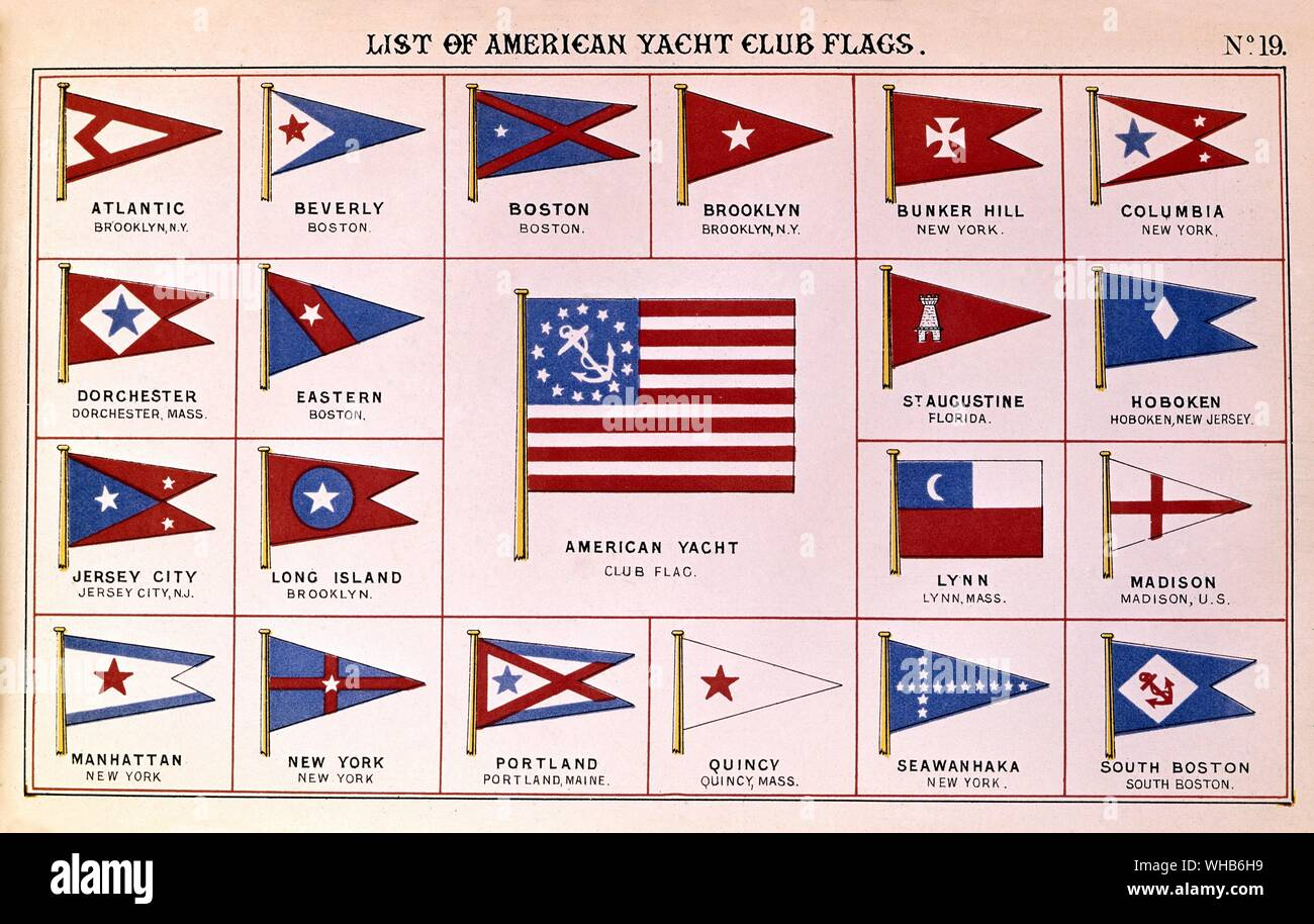 List of American Yacht Club flags: From Lloyd's Register 1881, early examples of coloured plates showing flags and British and American club burgees.. Stock Photo