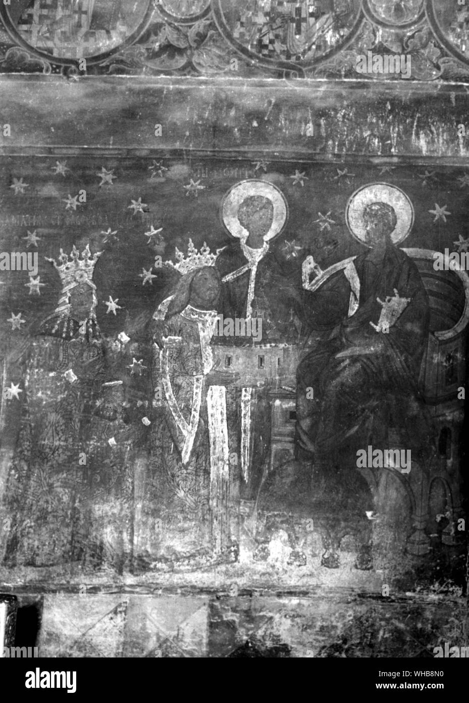 Church of St. George - Voronet - North Moldavia - Rumania. Votive painting in the Nave of the Church showing Stephen the Great offering Jesus a model Stock Photo