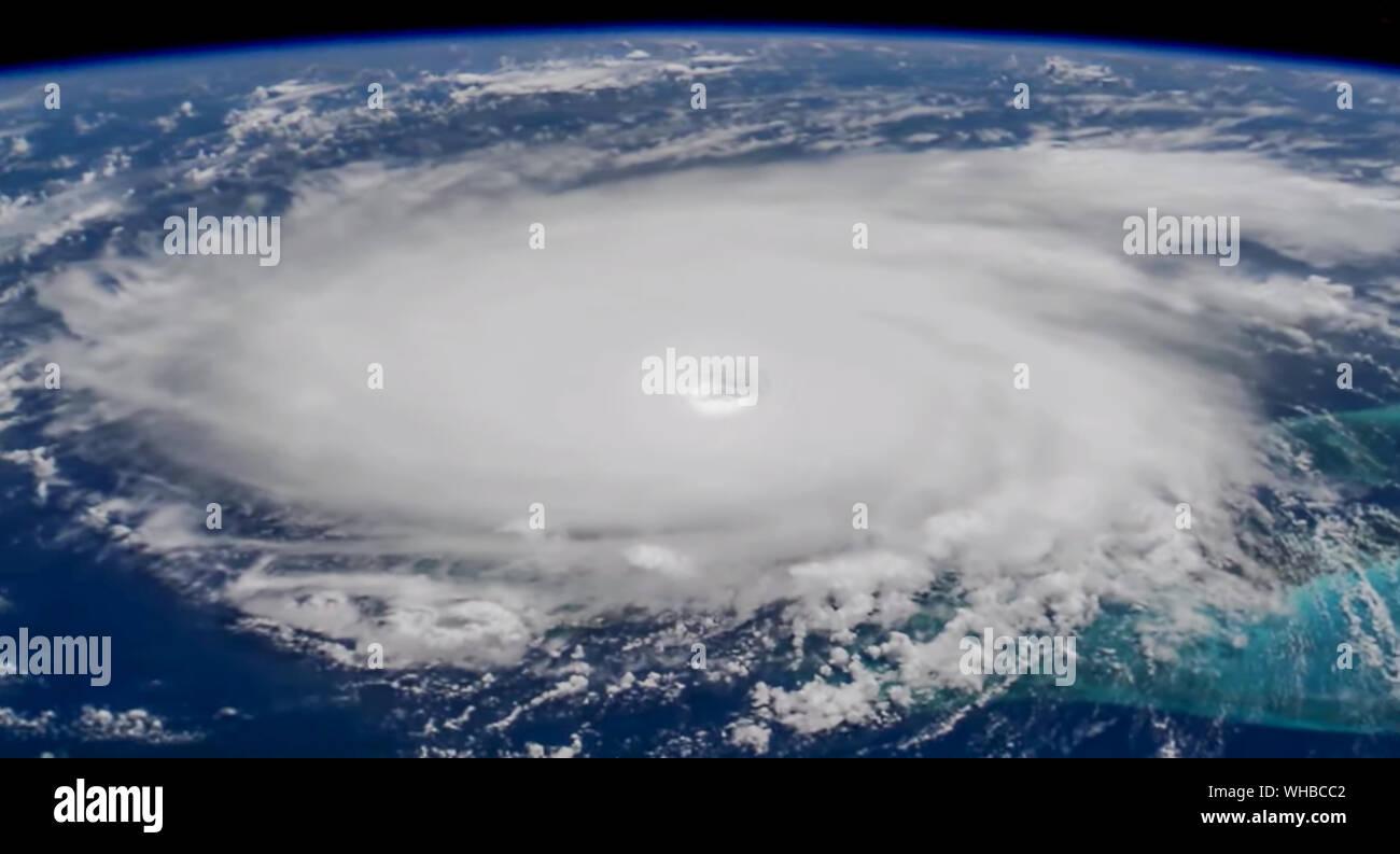 NASA International Space Station (ISS) photo of Hurricane Dorian over the Bahamas on September 1, 2019. Stock Photo
