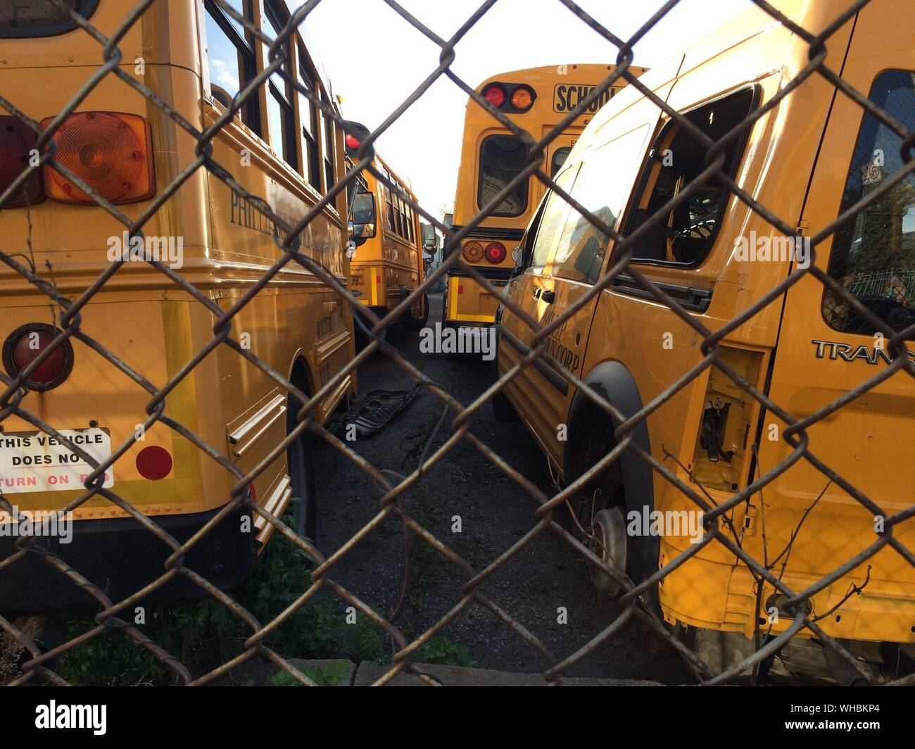 School Buses In Parking Lot Seen Through Chainlink Fence Stock Photo