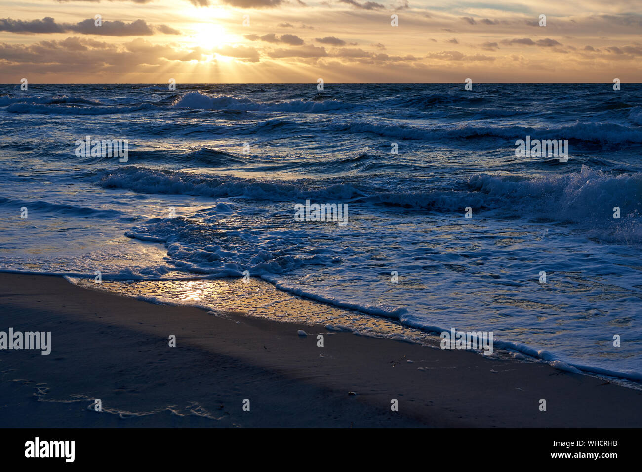 Sunset Over The Baltic Sea Stock Photo