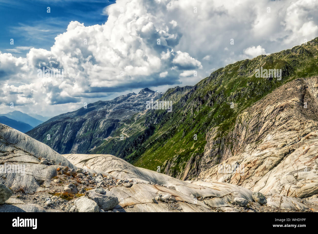 panorama view from rhone glacier to furka and grimsel pass near gletsch, switzerland Stock Photo