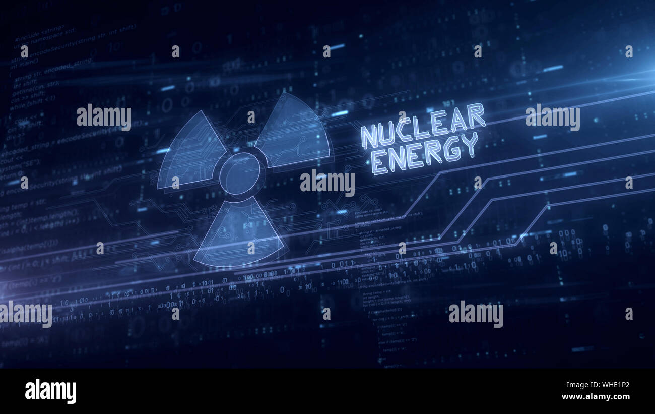 Nuclear energy symbol hologram 3d illustration. Modern concept of science, danger icon and warning on blue digital background. Stock Photo