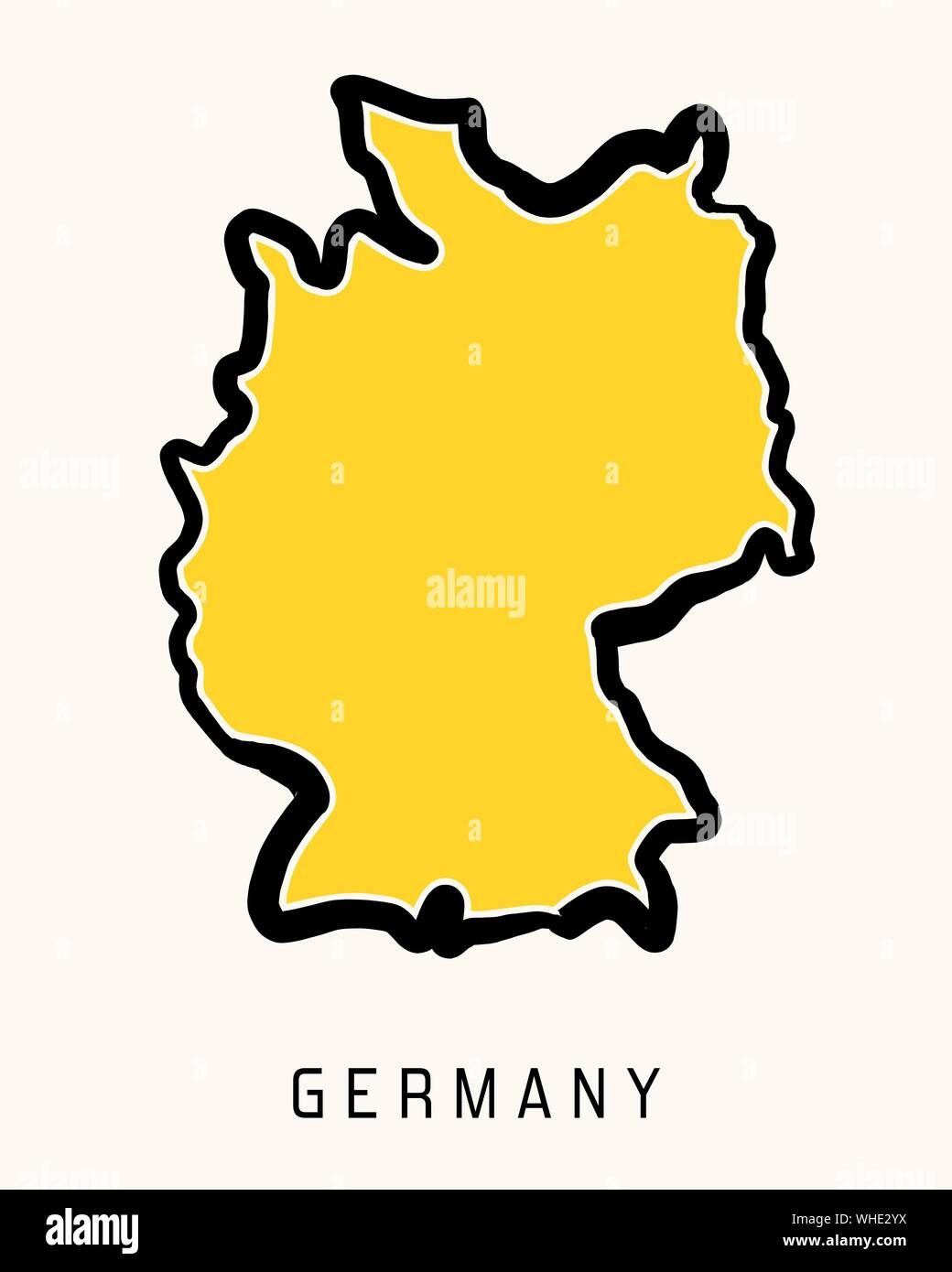 simple map of germany Germany Simple Map Outline Simplified Country Shape Map Vector