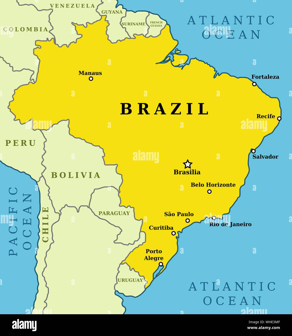 Picture of: Map Of Brazil Country Outline With 10 Largest Cities Including Brasilia Capital City Stock Vector Image Art Alamy