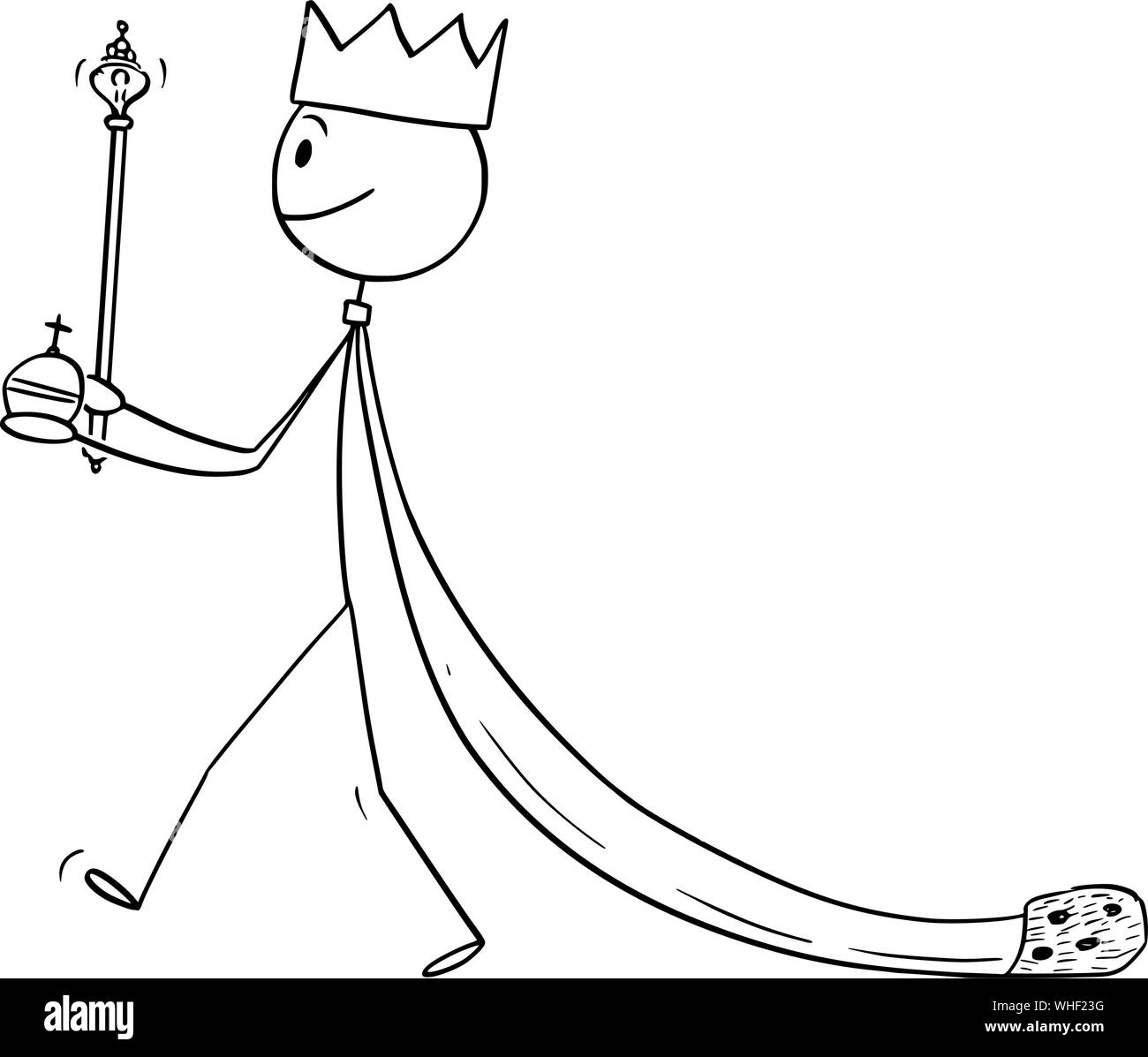 Vector Cartoon Stick Figure Drawing Conceptual Illustration Of Fantasy Or Medieval King Walking In Robe Stock Vector Image Art Alamy