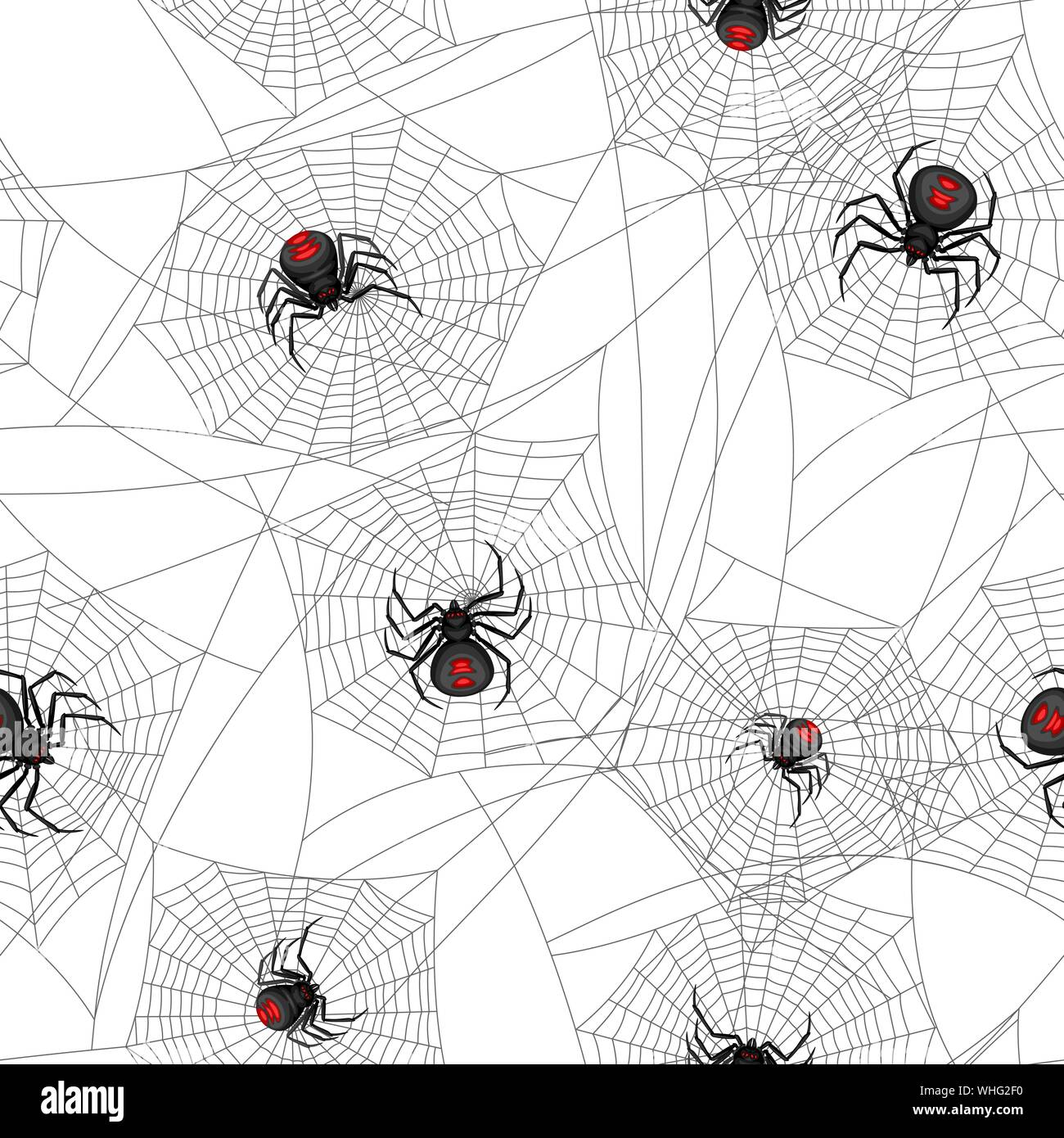 Seamless Pattern With Black Widow Spiders Stock Vector Image Art Alamy