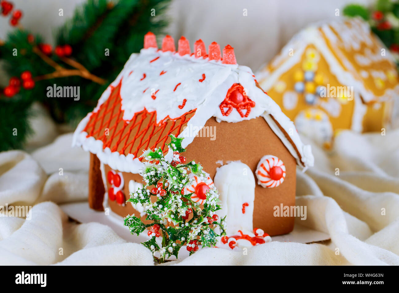 Christmas Gingerbread House Background.Assorted Christmas Gingerbread Cookies Village House Tree