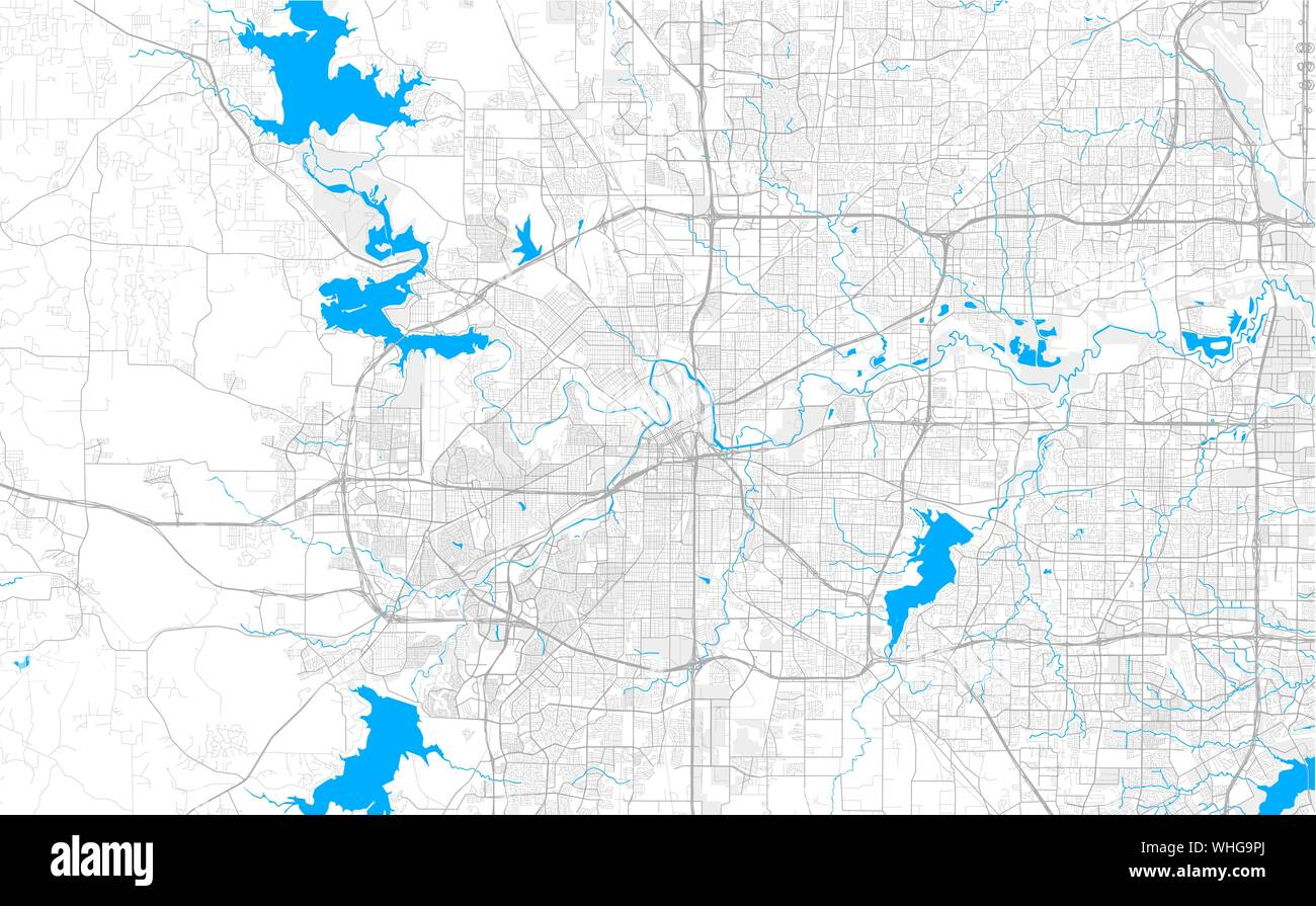 Rich detailed vector area map of Fort Worth, Texas, U.S.A. ...