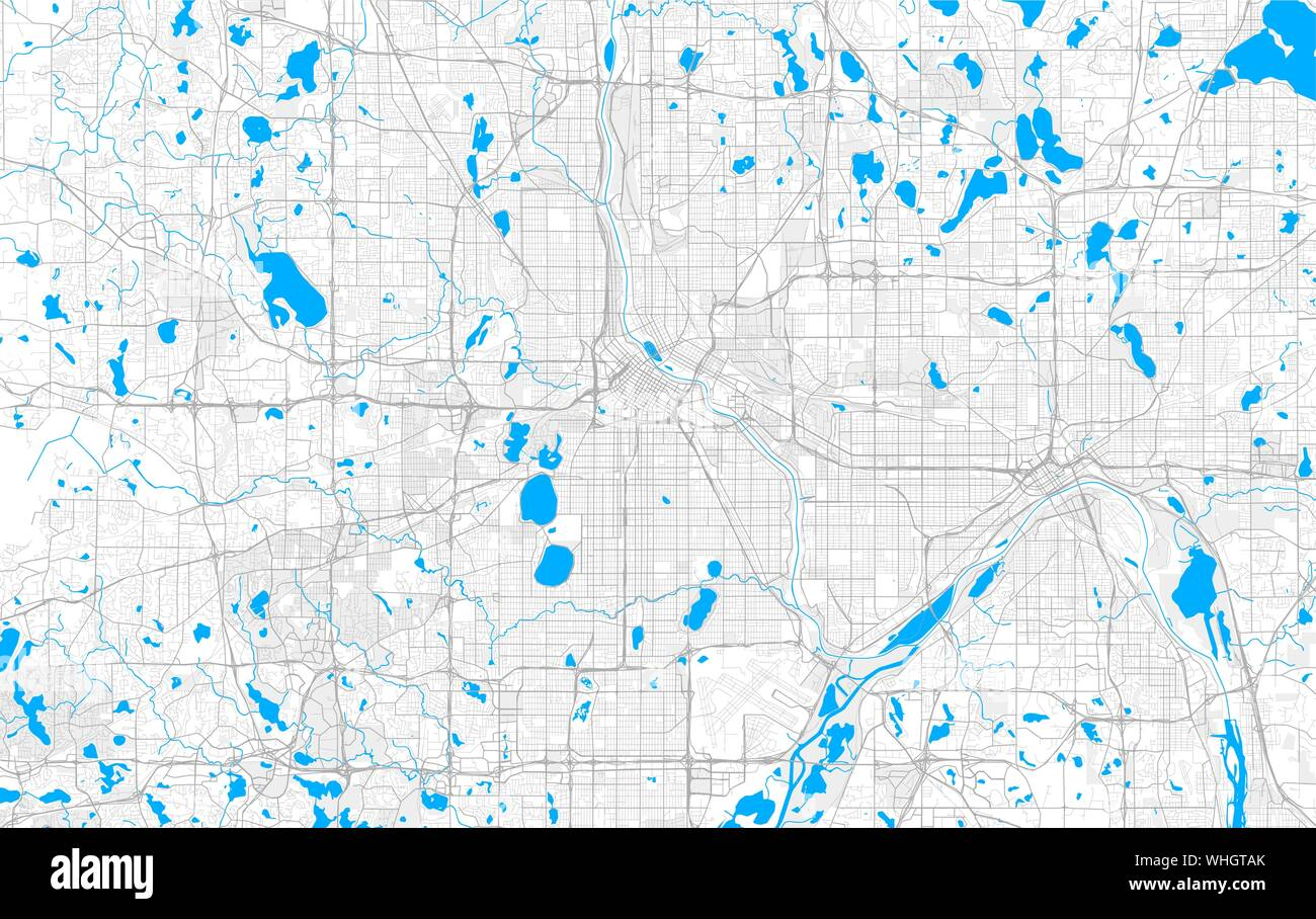 Rich detailed vector area map of Minneapolis, Minnesota ...