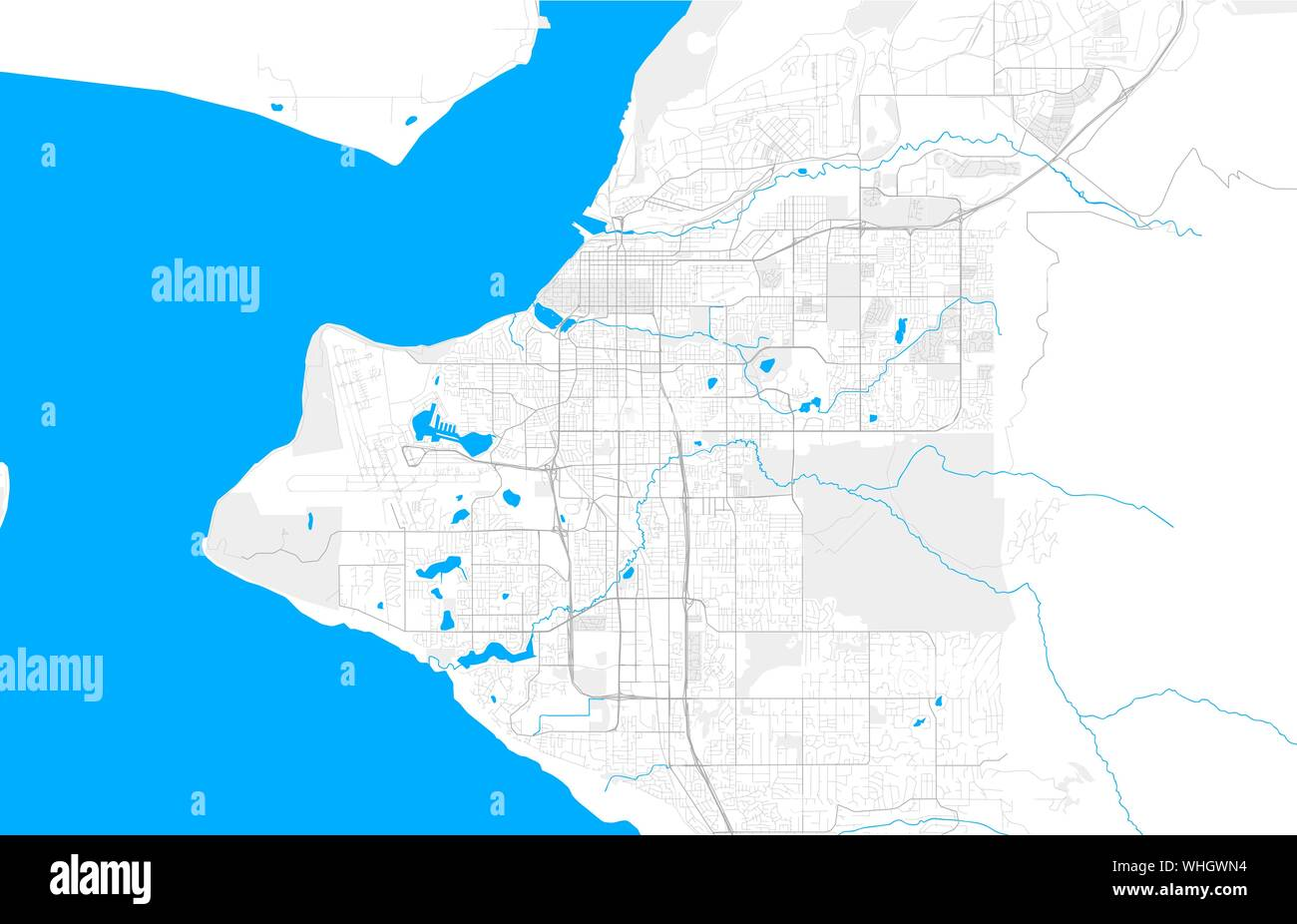 Rich detailed vector area map of Anchorage, Alaska, U.S.A. ...