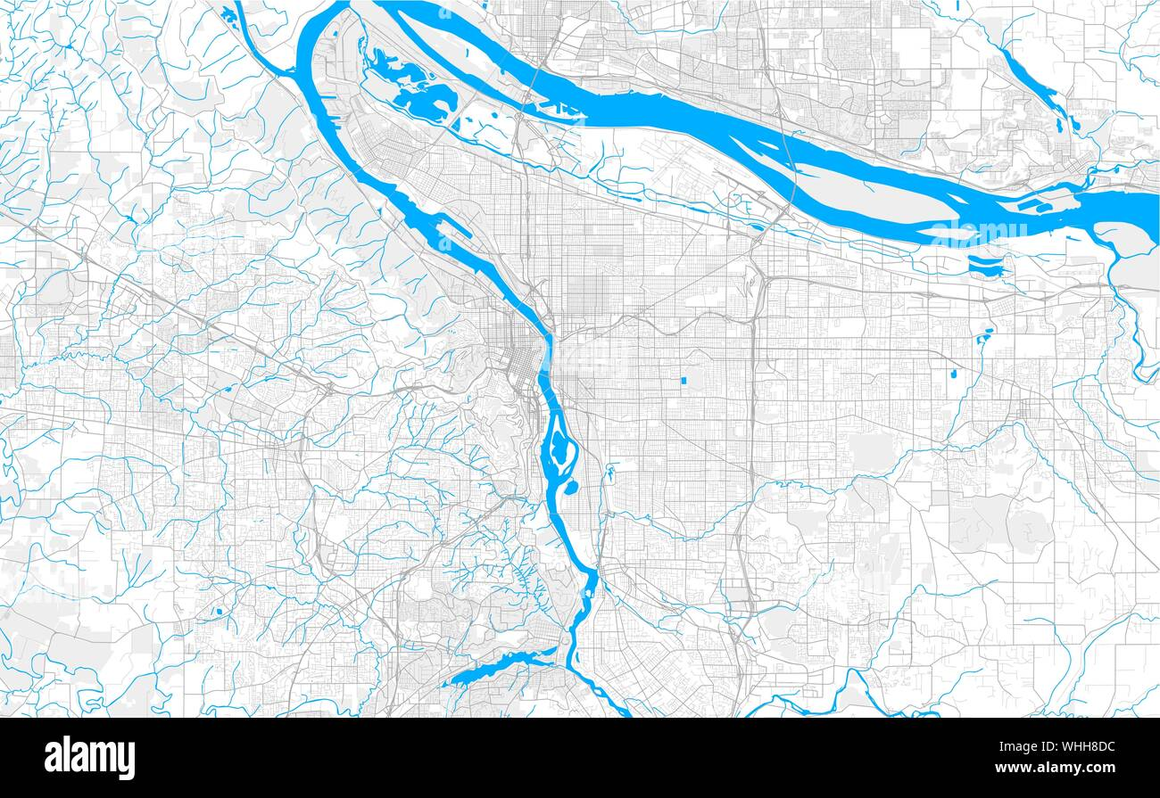 Rich detailed vector area map of Portland, Oregon, U.S.A. ...