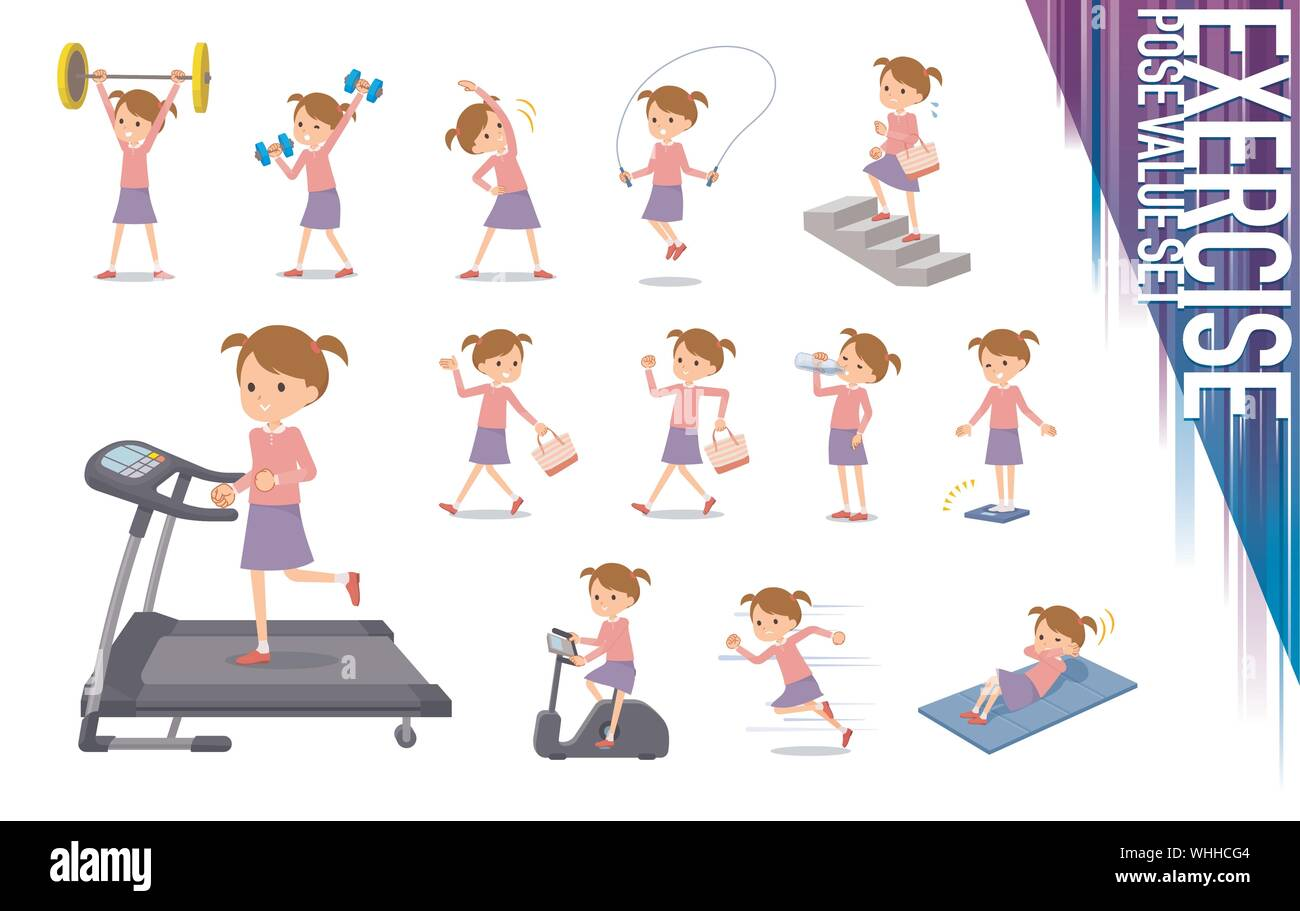 A Set Of Girl On Exercise And Sports There Are Various Actions To Move The Body Healthy It S Vector Art So It S Easy To Edit Stock Vector Image Art Alamy