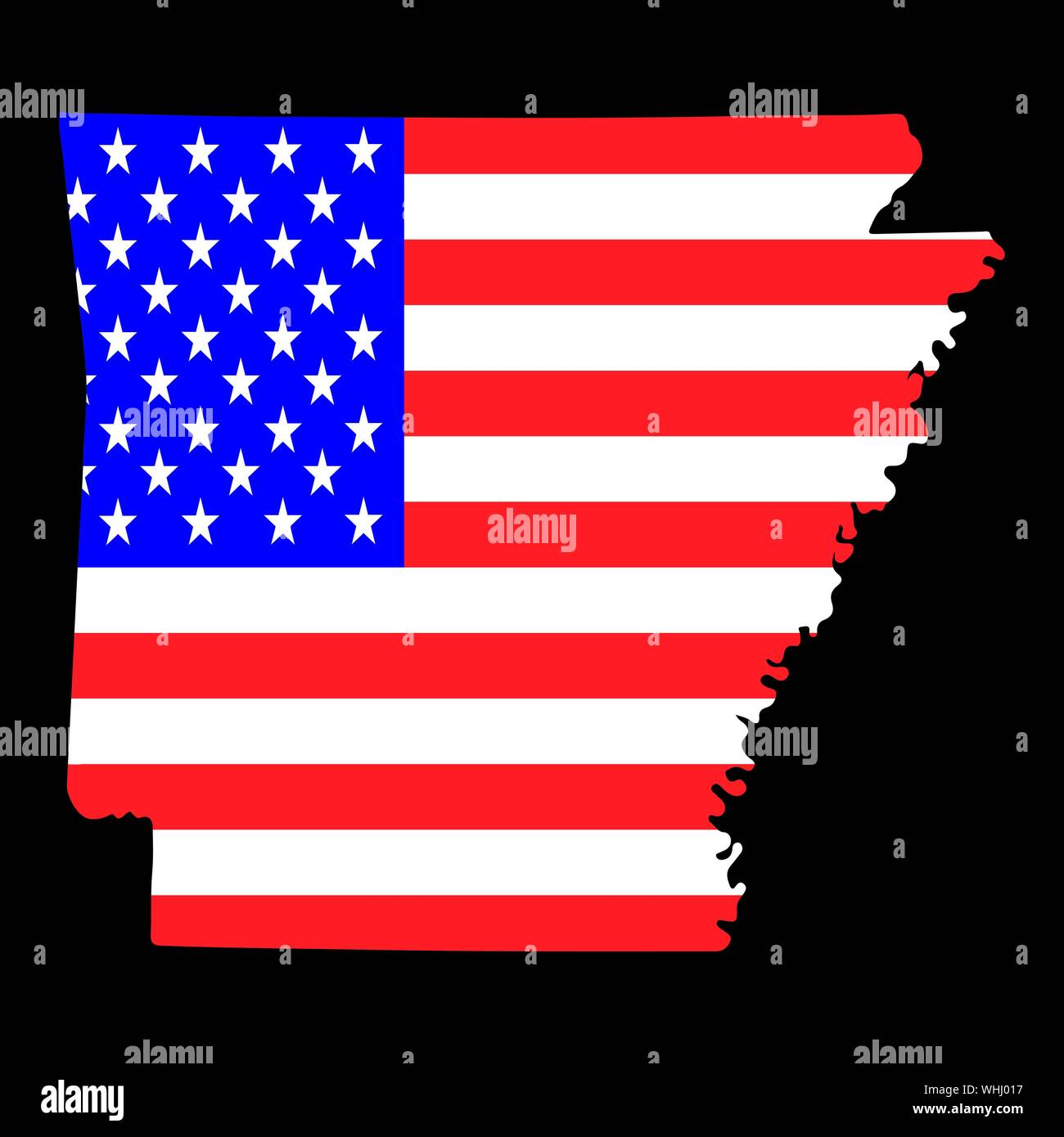 Map of the U.S. state of Arkansas with American Flag.Vector ...