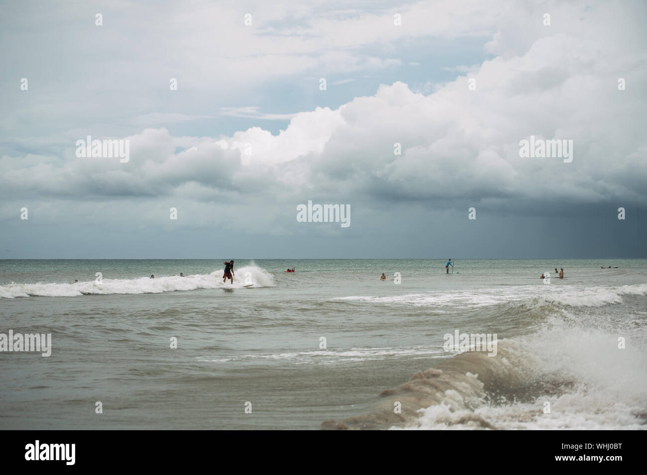Dania Beach, Florida, USA. 2nd Sep, 2019. Surfers enjoy the waves at Dania Beach, FL, as wind picks up with Hurricane Dorian approaching the coast of Florida. Credit: Orit Ben-Ezzer/ZUMA Wire/Alamy Live News Stock Photo