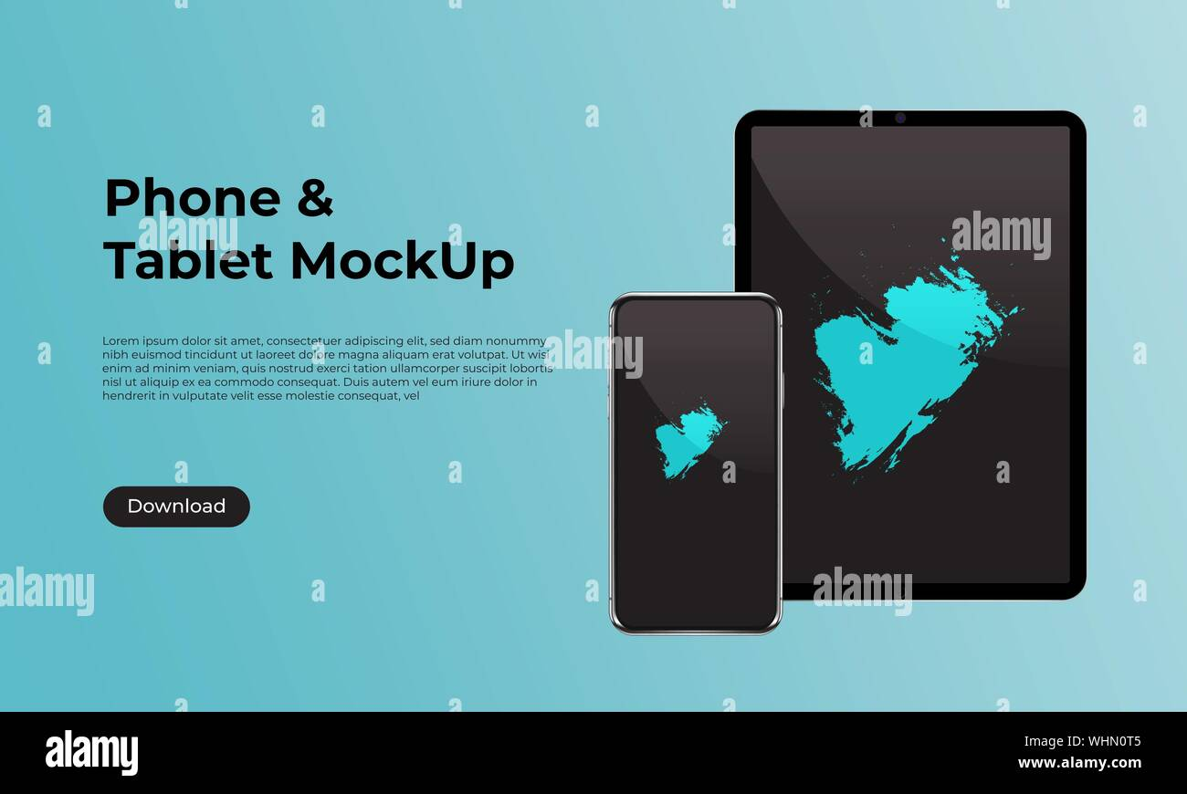 Realistic Smartphone And Tablet Front View Mock Up Website