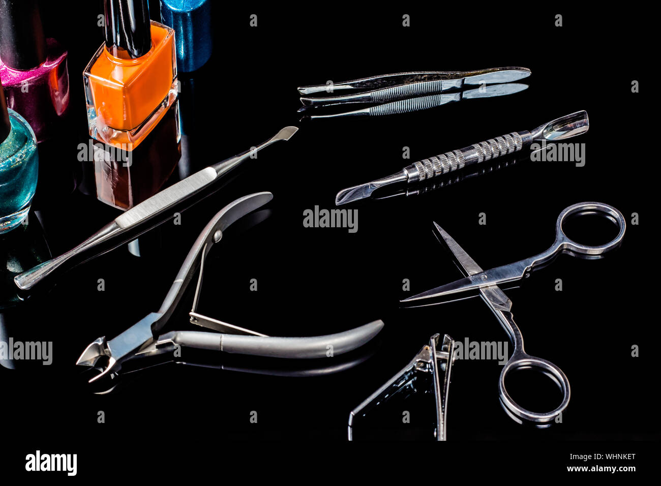 Manicure And Pedicure Tools On Black Background Isolated Equipment For Beauty Shop Cosmetic Salon Or Beauty Parlour Manicure Tools In The Beauty S Stock Photo Alamy